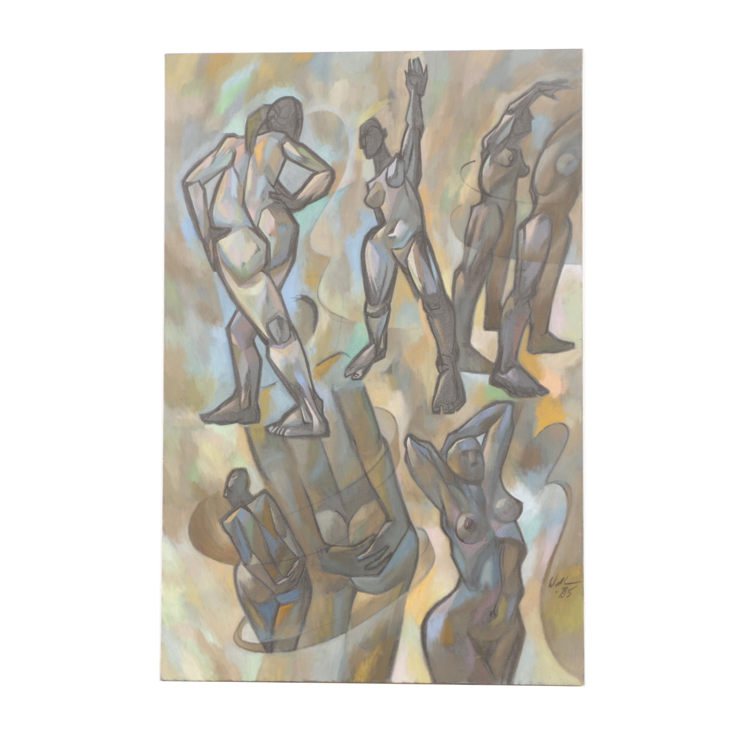 David Walker 1985 Oil Painting on Canvas of Stretching Figures