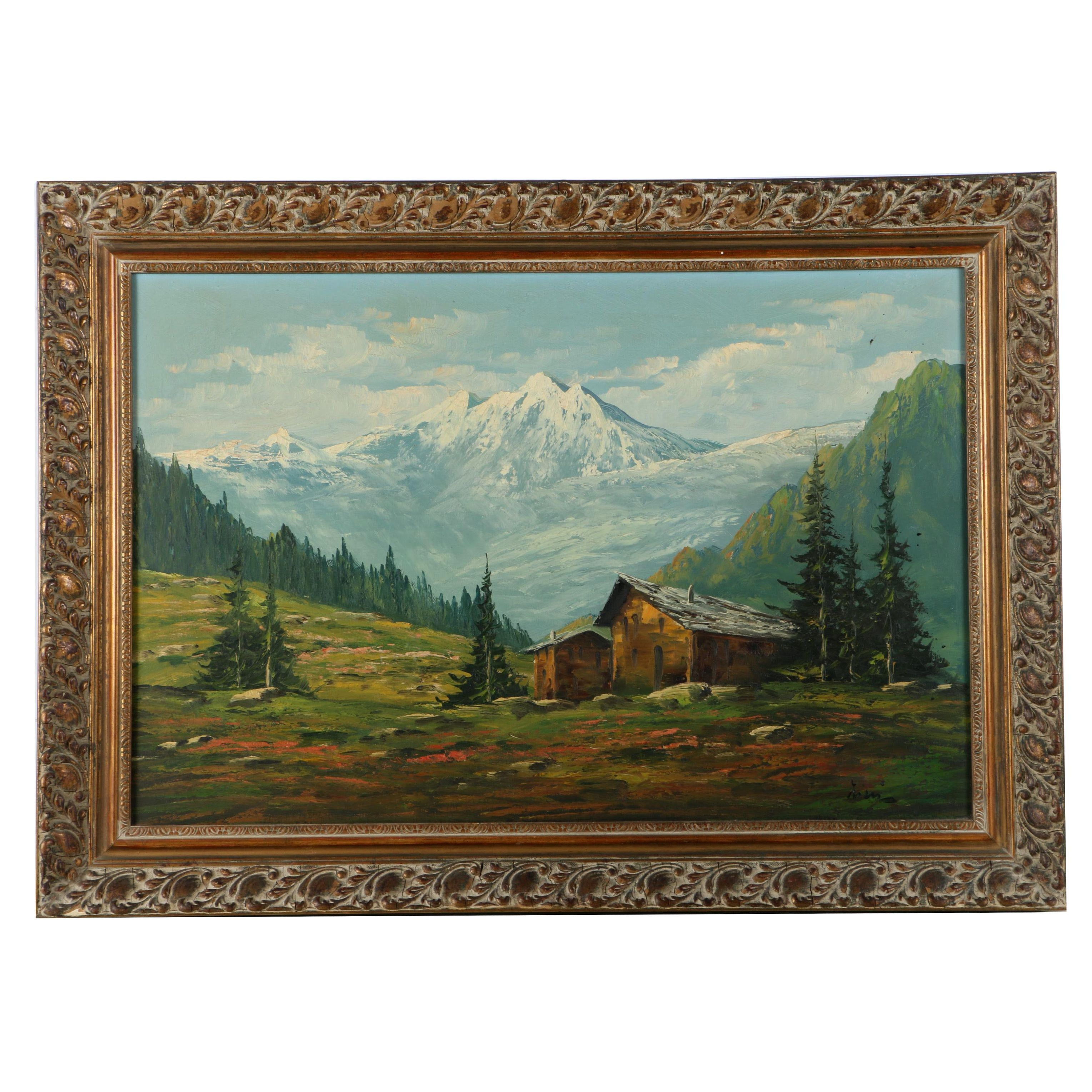 Oil Painting on Canvas of a Mountain Landscape
