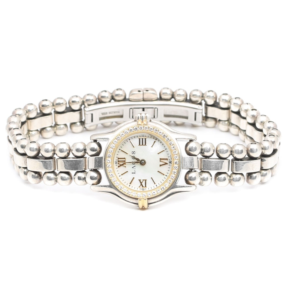 Lagos Stainless Steel, 18K Gold and Sterling Silver Diamond Bracelet Watch