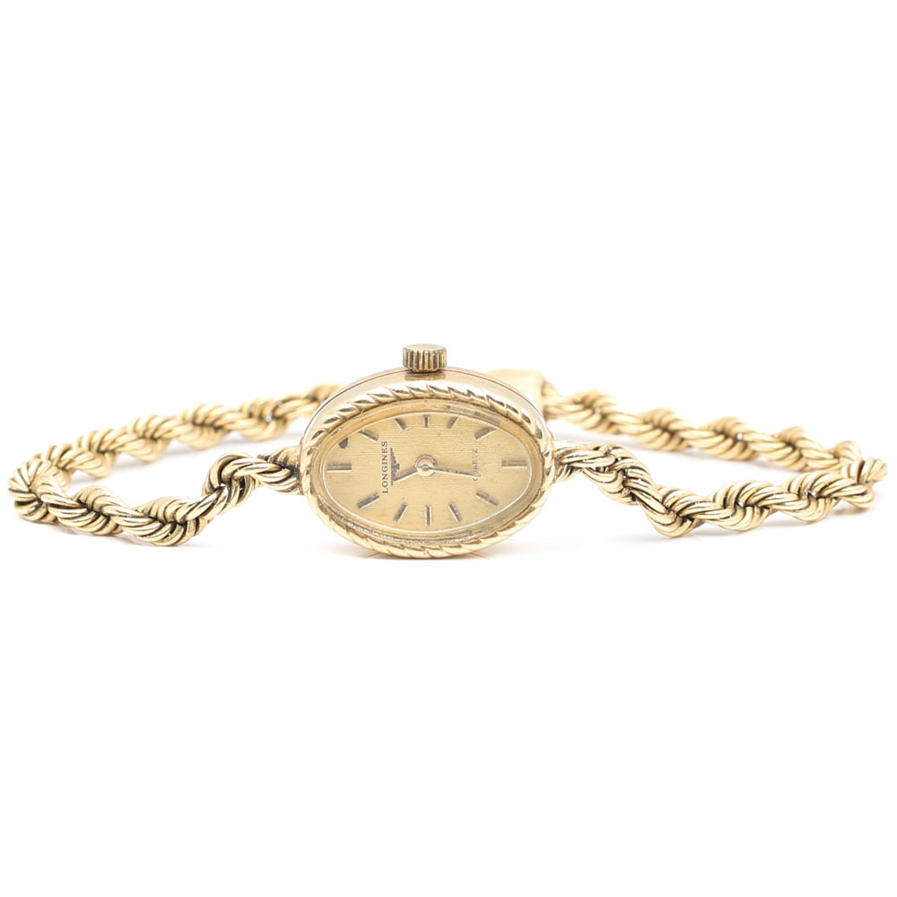 Longines 14K Yellow Gold Oval Rope Wristwatch