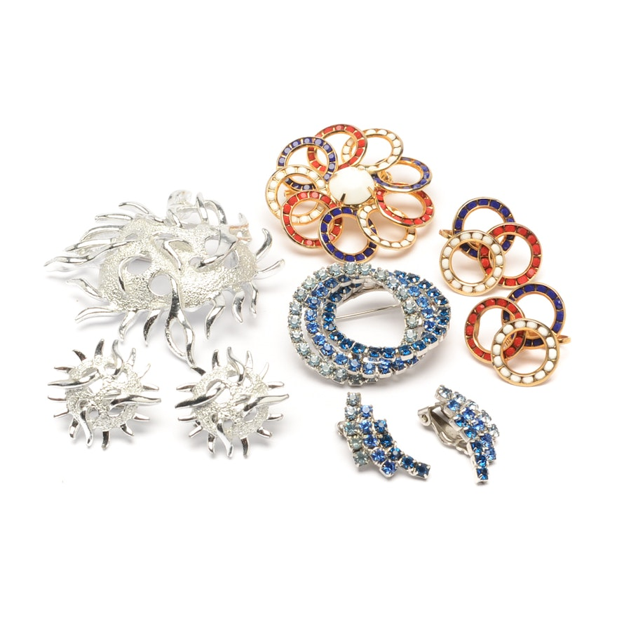 4486801ee48 Assortment of Costume Jewelry Brooch and Earring Sets : EBTH