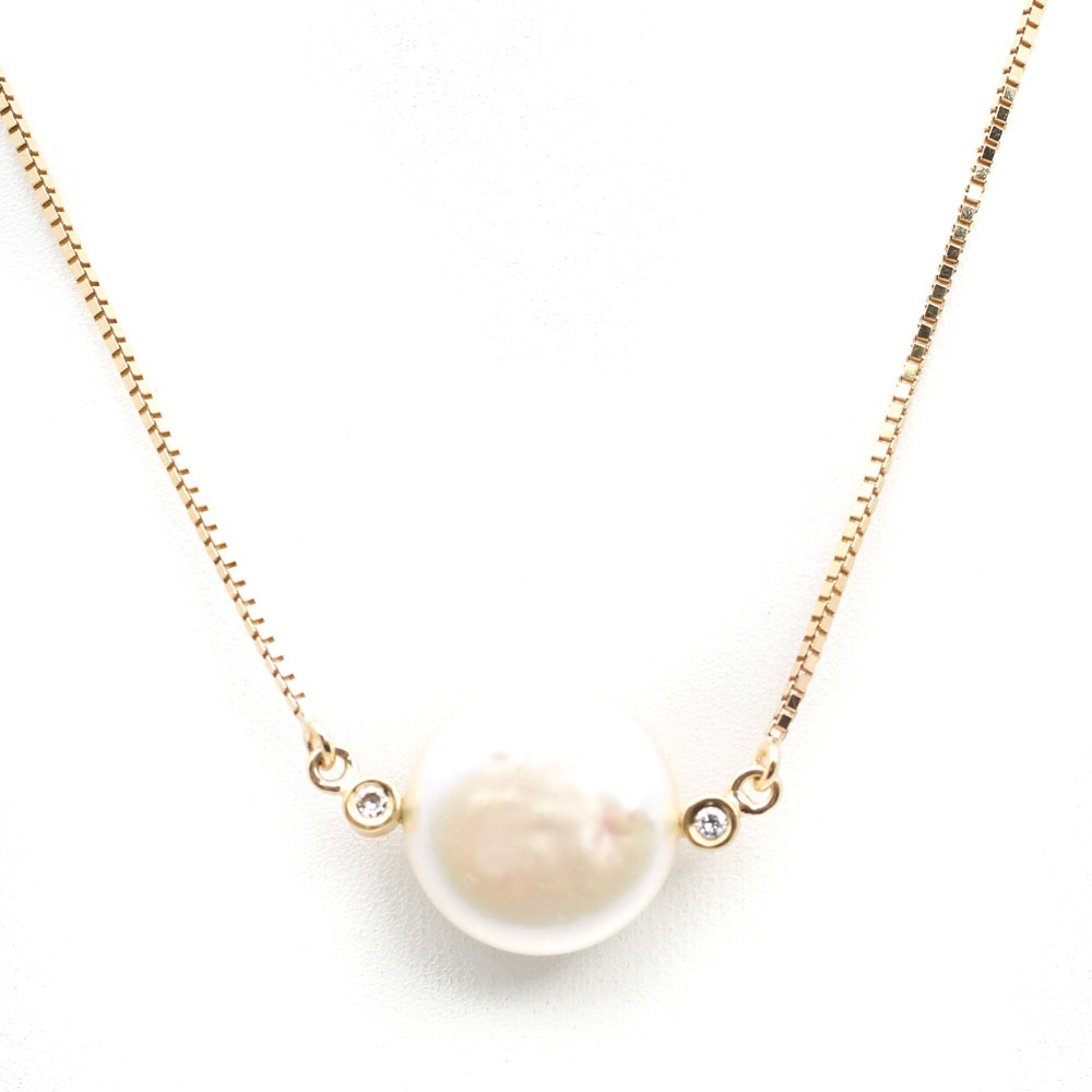 14K Yellow Gold Coin Pearl and Diamond Pendant