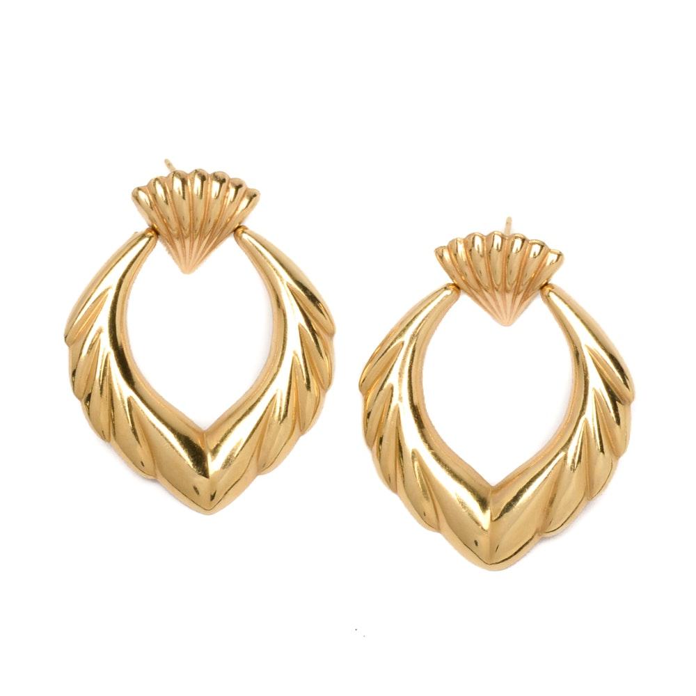14K Yellow Gold Decorative Dangle Hoop Earrings