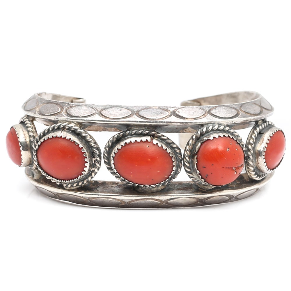 Sterling Silver Wide Bezel Set Five-Coral Stone Cuff