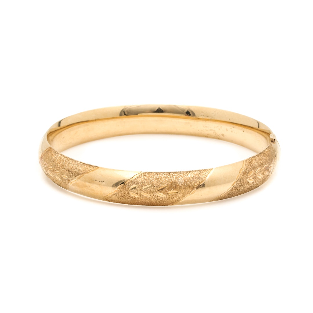 14K Yellow Gold Bracelet With Textured Accents