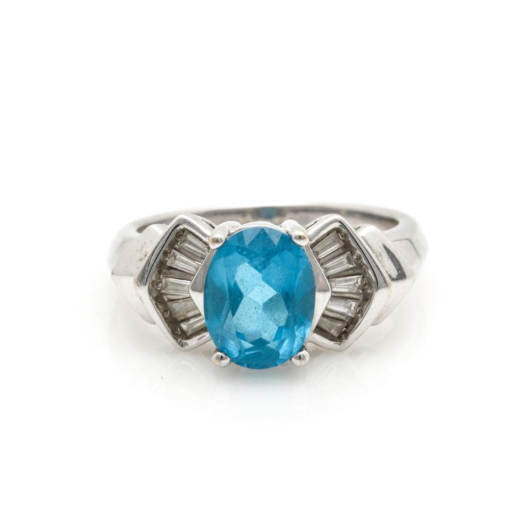 14K White Gold Blue Topaz and Diamond Ring