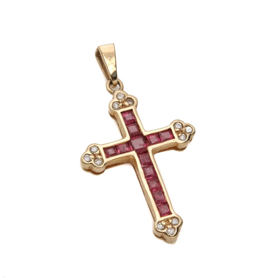 14K Yellow Gold Ruby and Diamond Cross Pendant