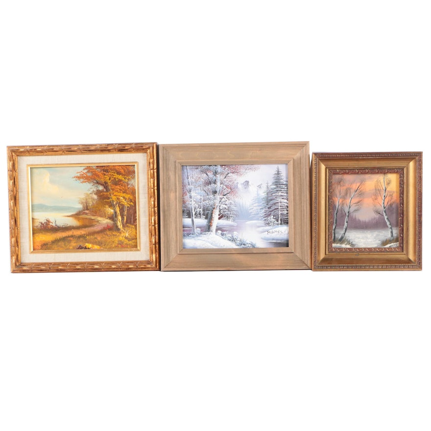 Three Landscape Oil Paintings on Canvas Board Including Clara Inness ...