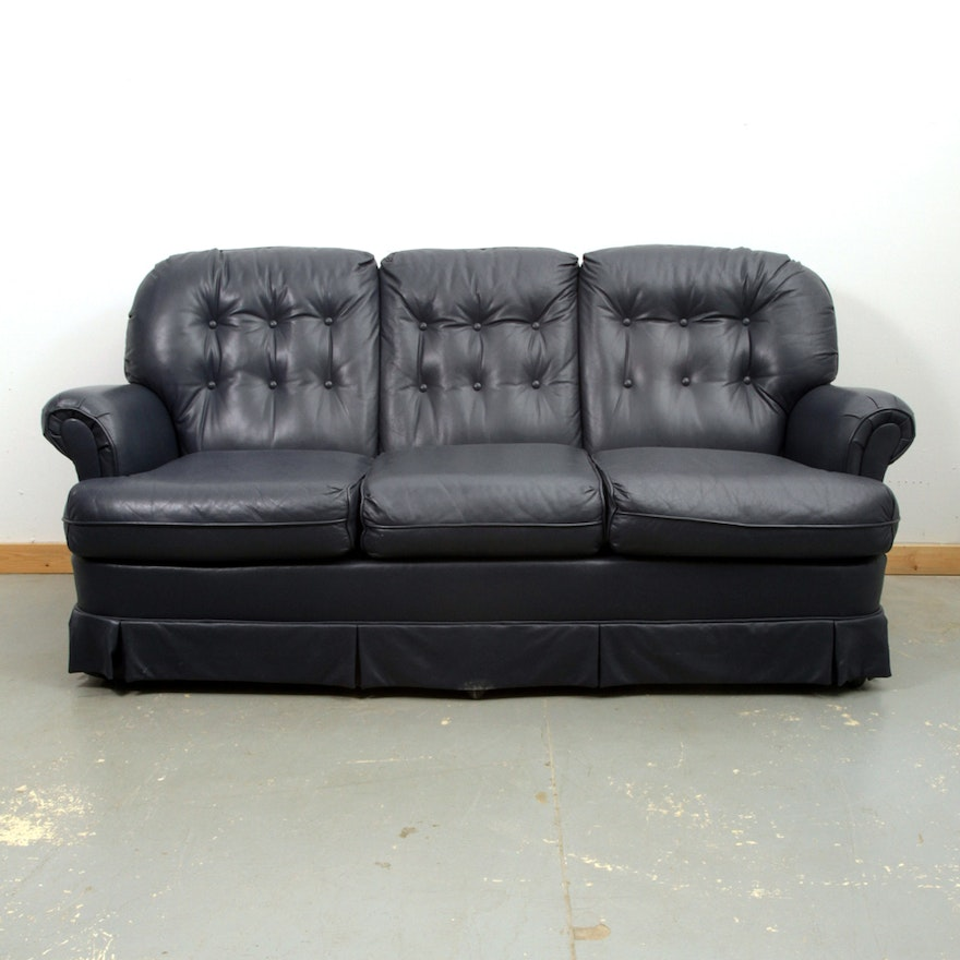 Navy Blue Leather Sofa by Madden