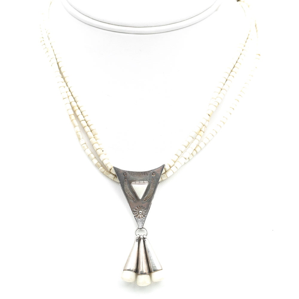 Christin Wolf Sterling Silver White Bead Three-Strand Necklace