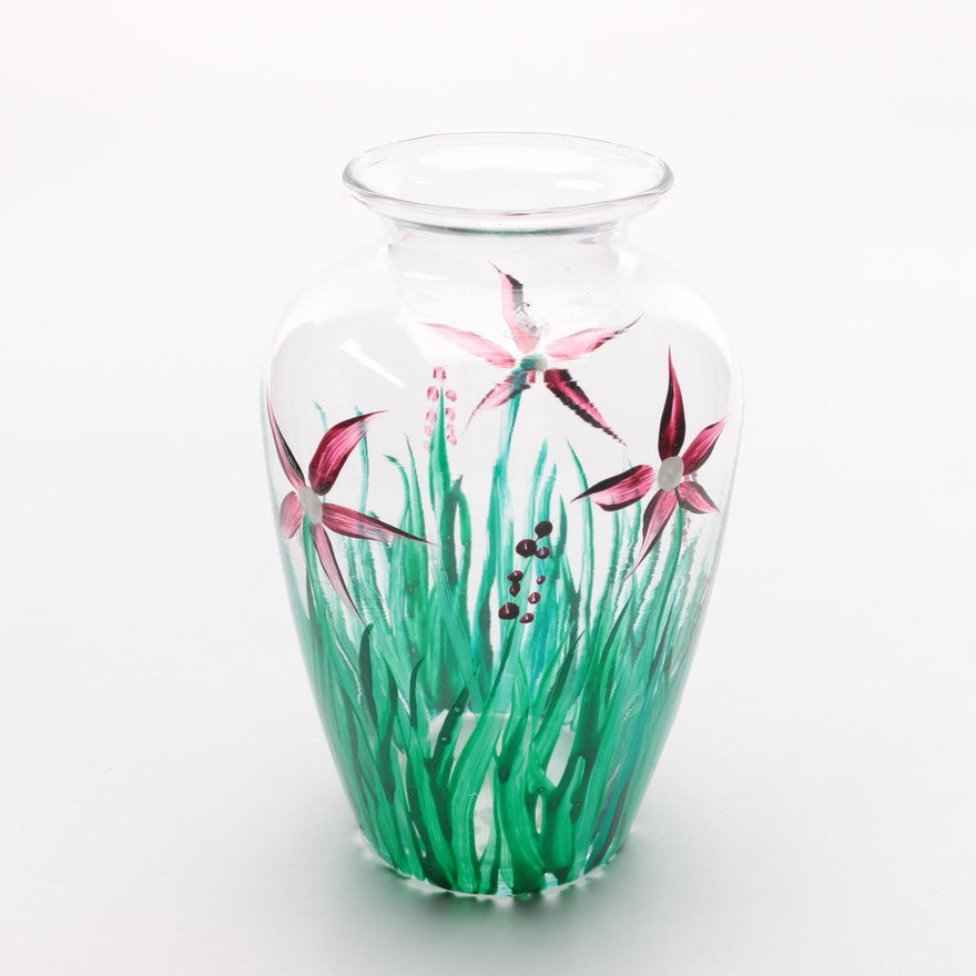 Small Painted Glass Vase Ebth