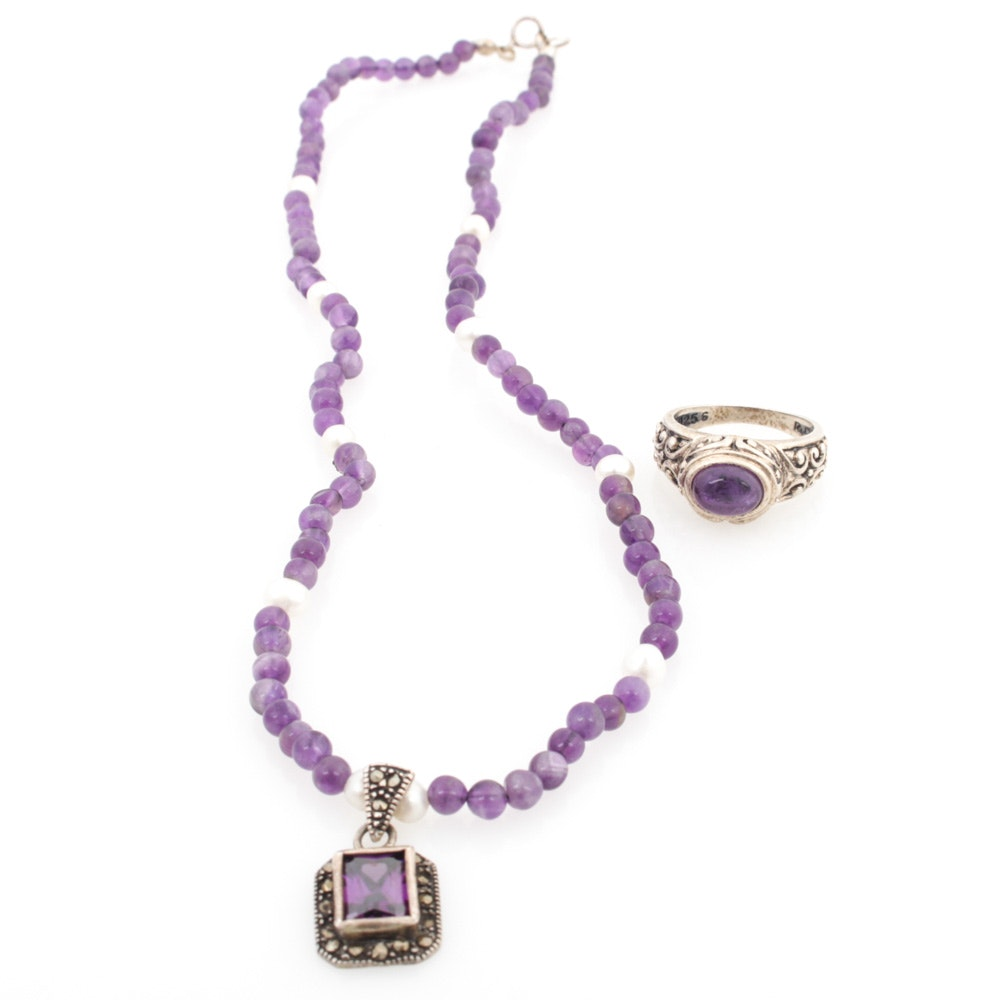 Sterling Silver Amethyst and Cultured Pearl Ring and Necklace