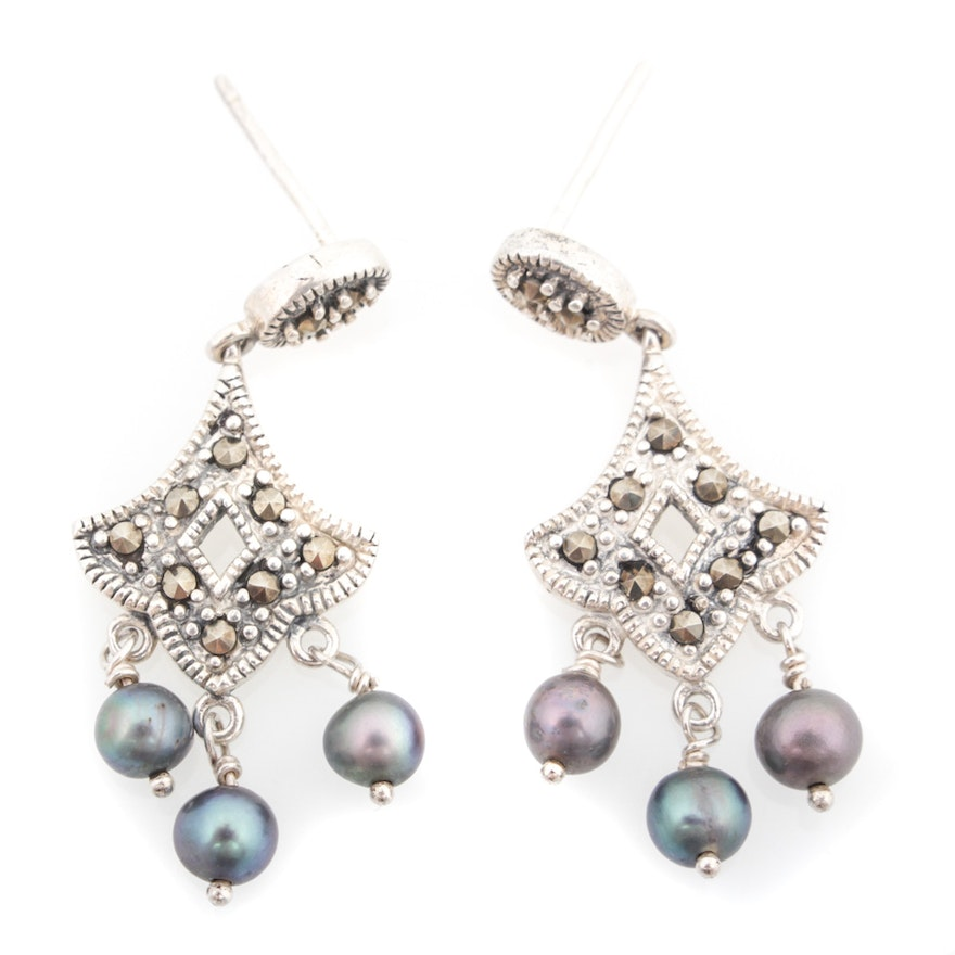 Sterling silver cultured pearl and marcasite chandelier earrings ebth sterling silver cultured pearl and marcasite chandelier earrings aloadofball Image collections