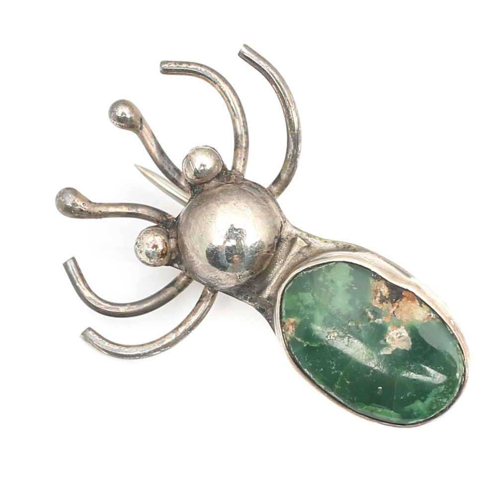 Sterling Silver Turquoise Spider Brooch
