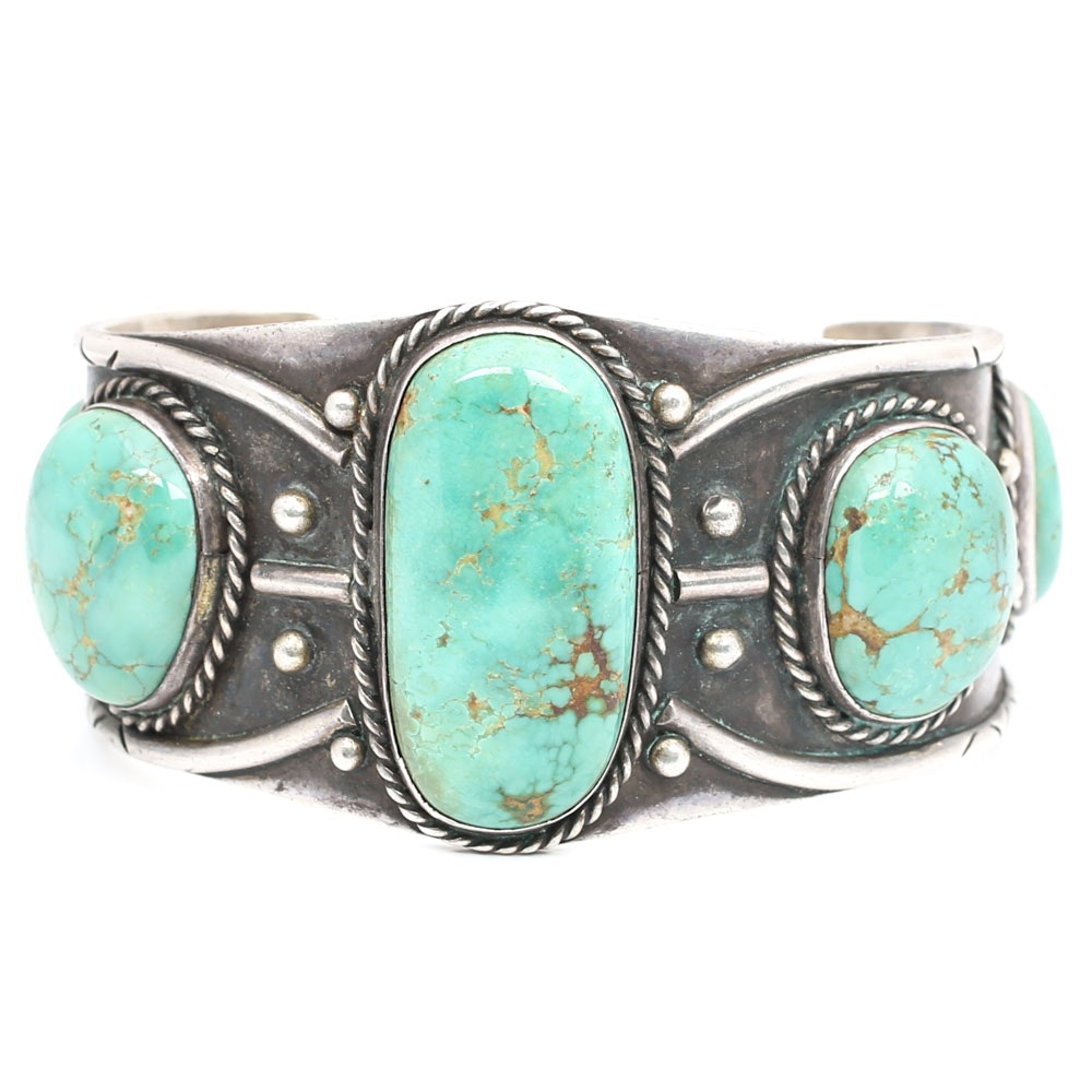 Oxidized Sterling Silver Cuff with Five Turquoise Stones