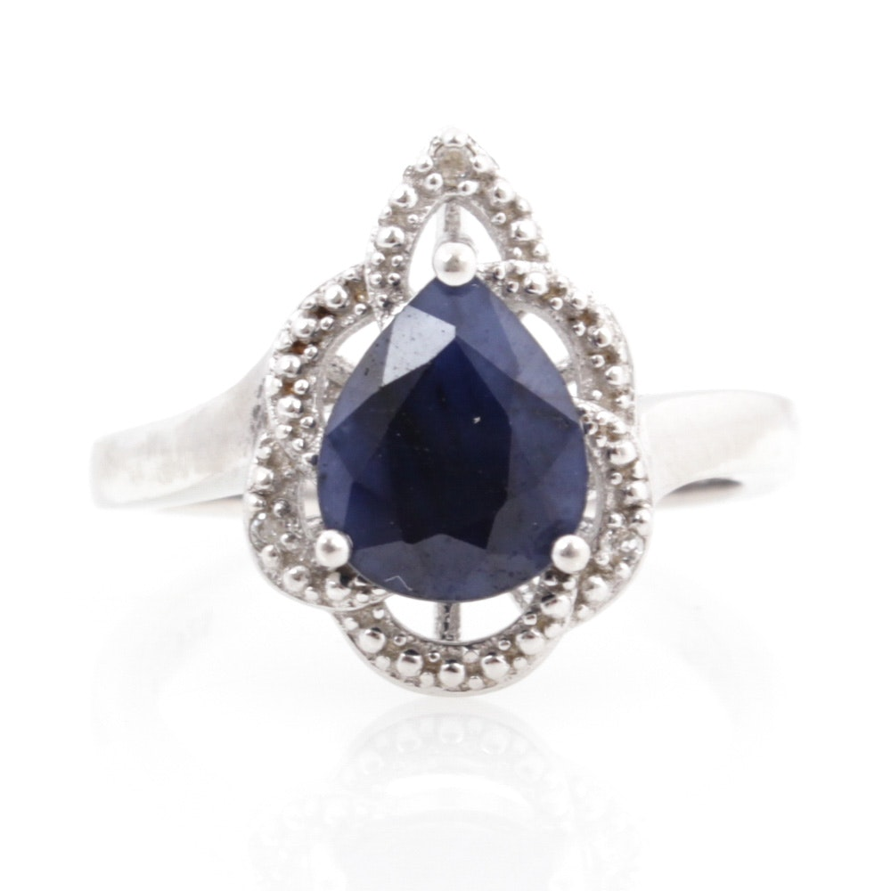 Sterling Silver Imitation Sapphire Ring