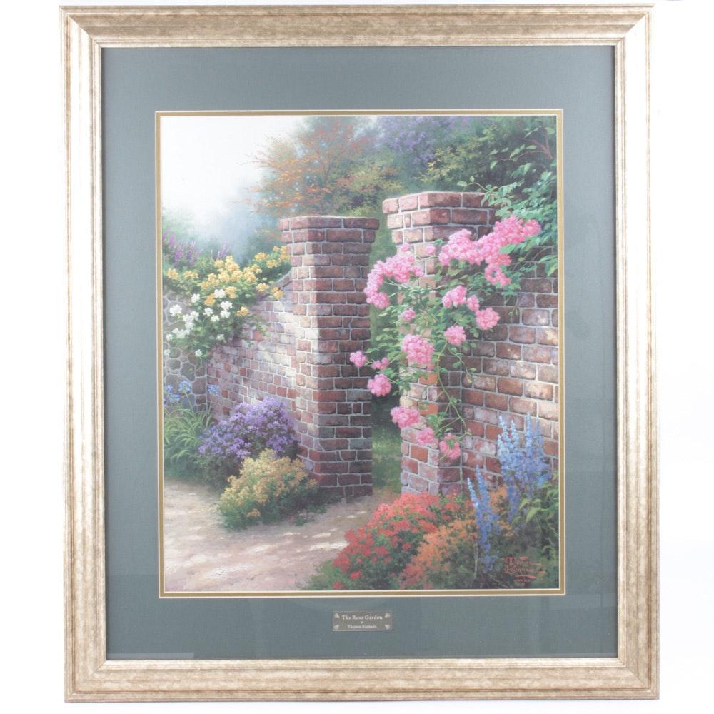 "Thomas Kinkade Offset Lithograph Print ""The Rose Garden"""