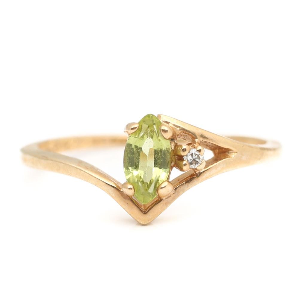 10K Yellow Gold Peridot and Diamond Ring