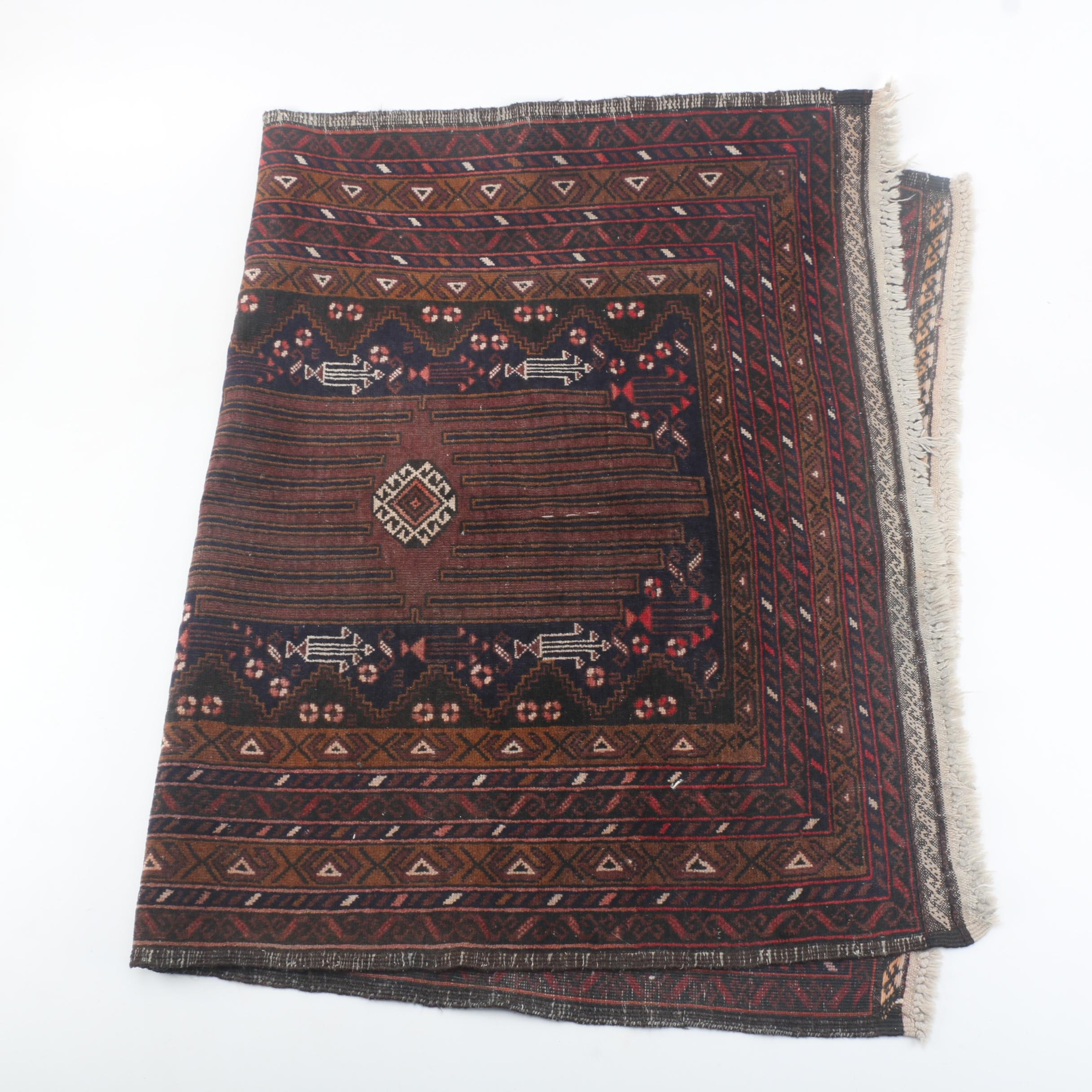 Hand-Knotted Baluch Area Rug