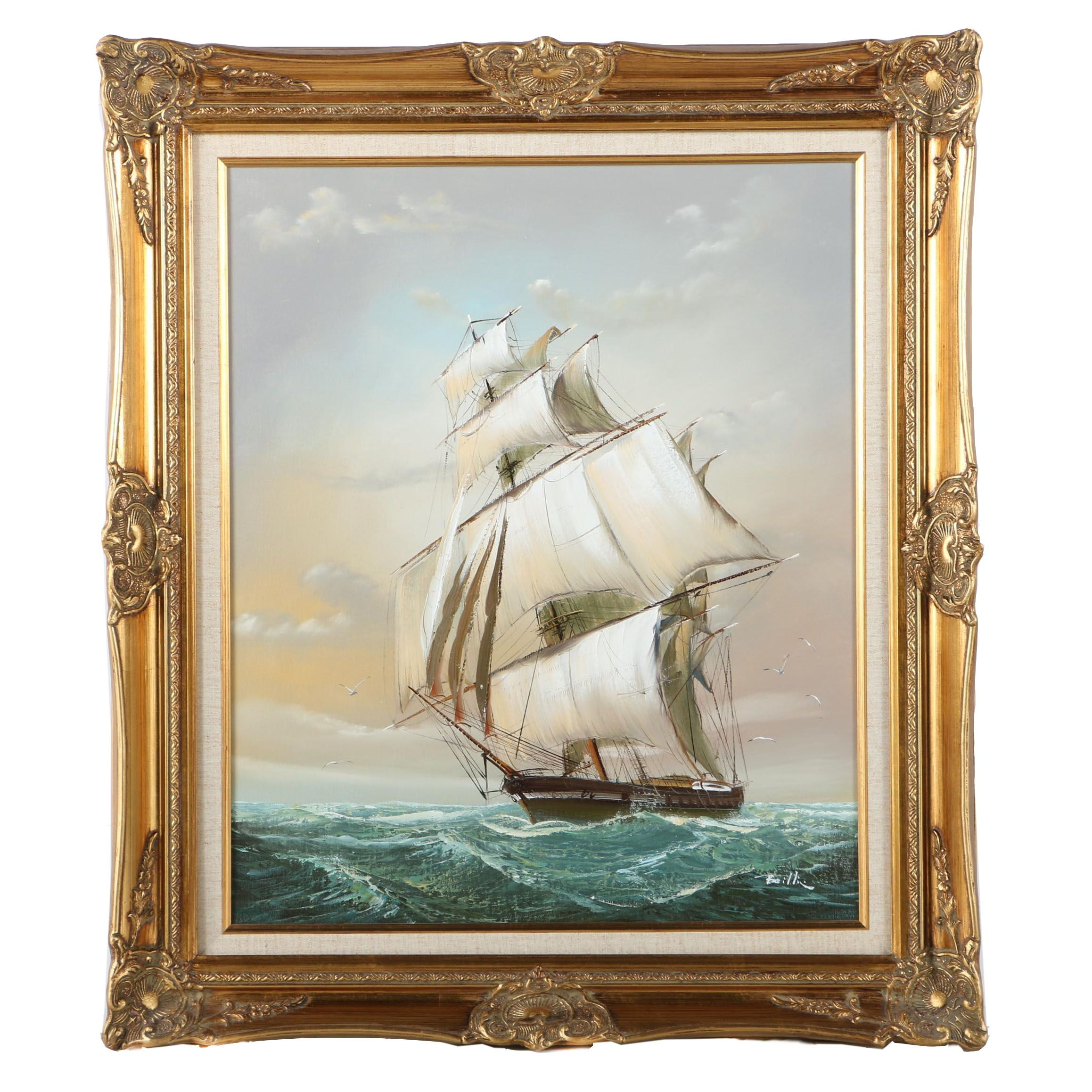 Oil Painting on Canvas of a Ship at Sea