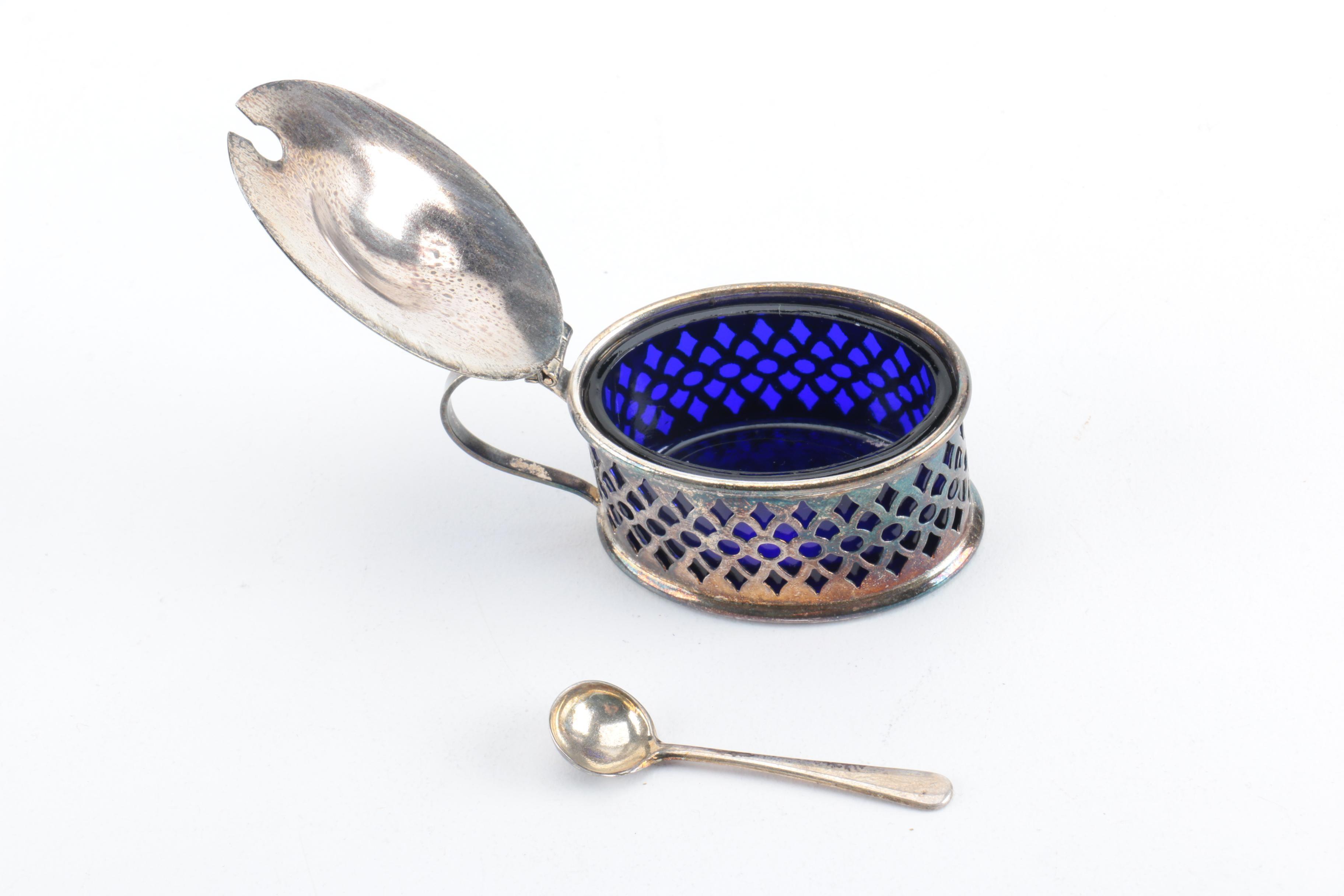 English Pierced Silver Plate And Cobalt Glass Salt Cellar