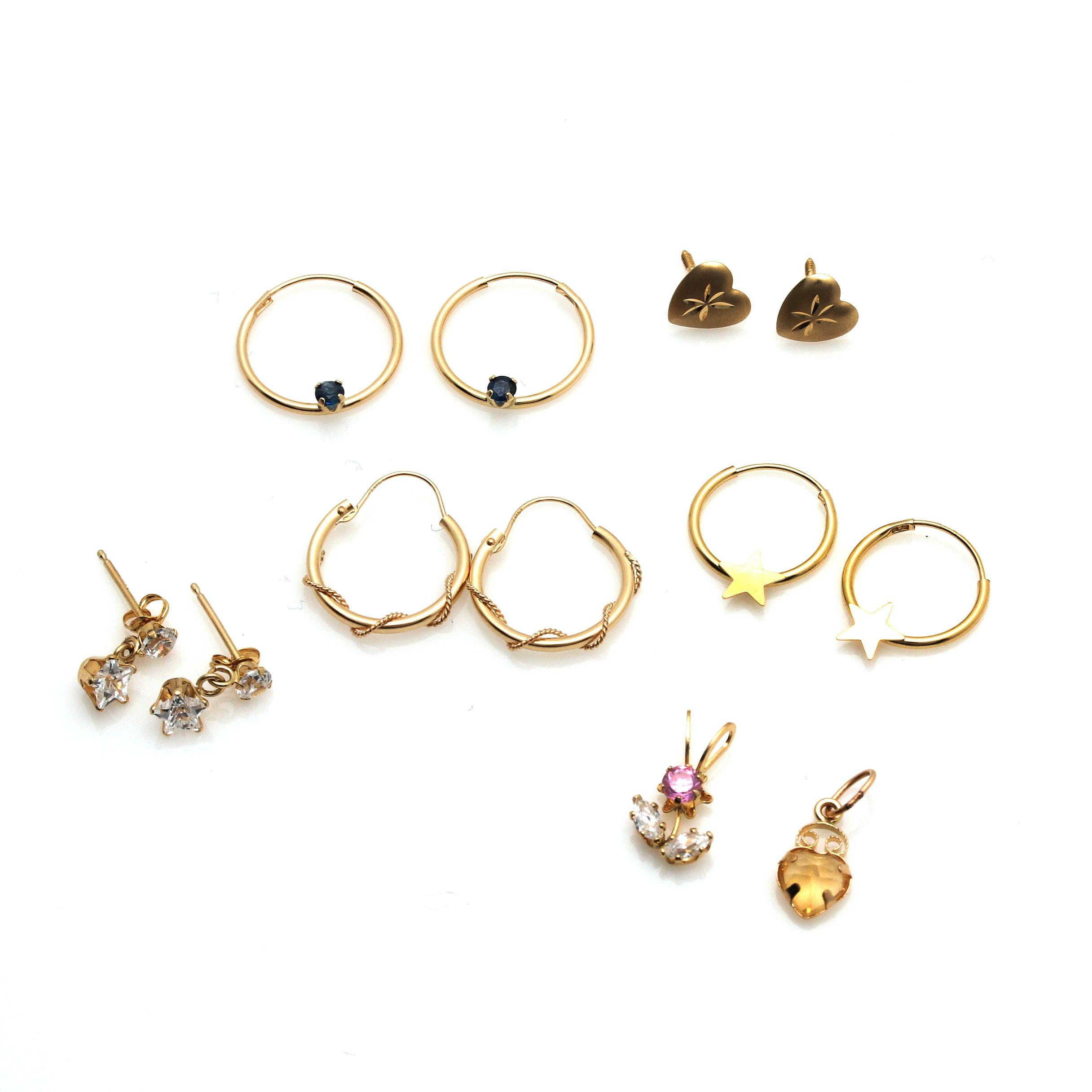 14K Yellow Gold Pendants and Earrings