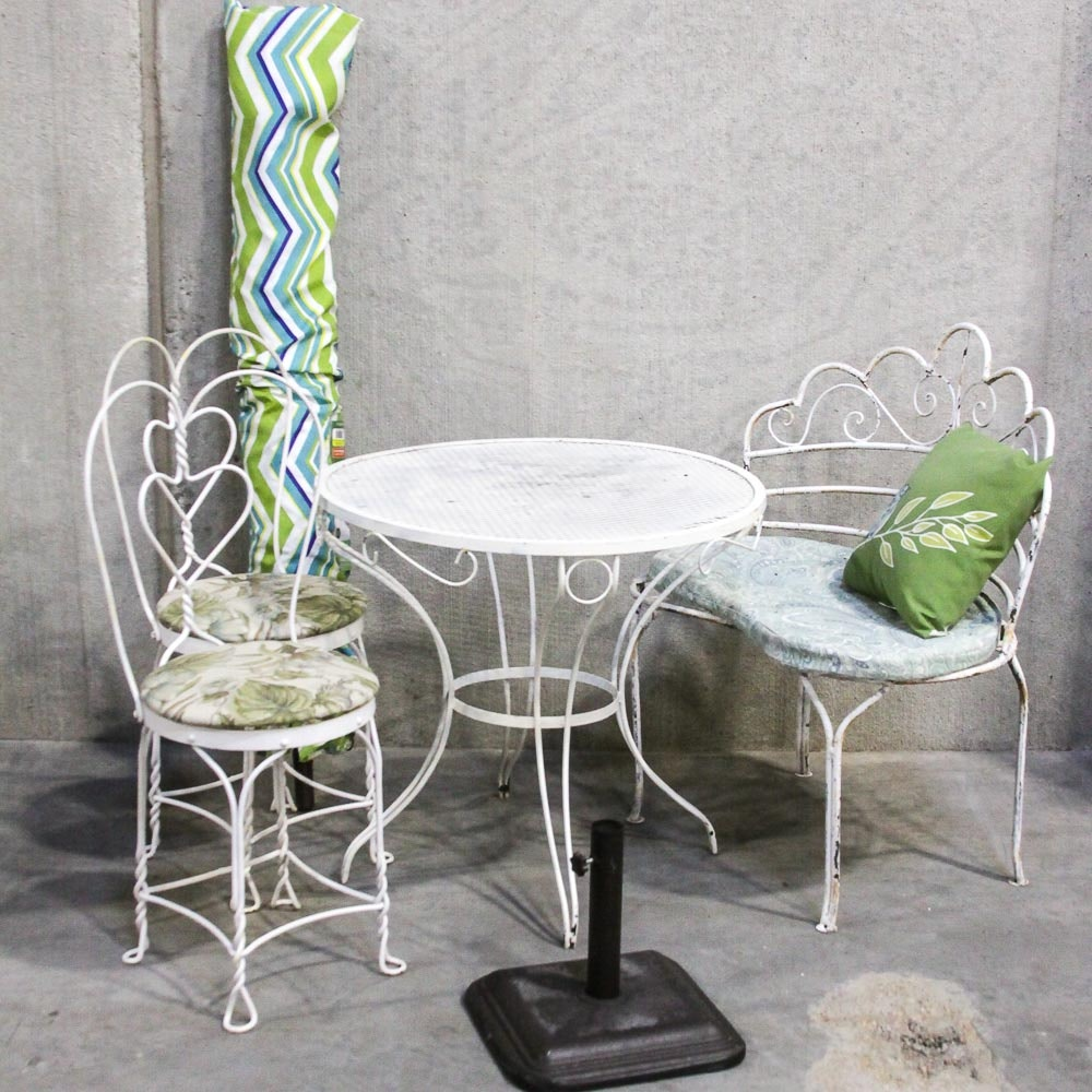 Metal Patio Set with Cushions and Mainstay Umbrella