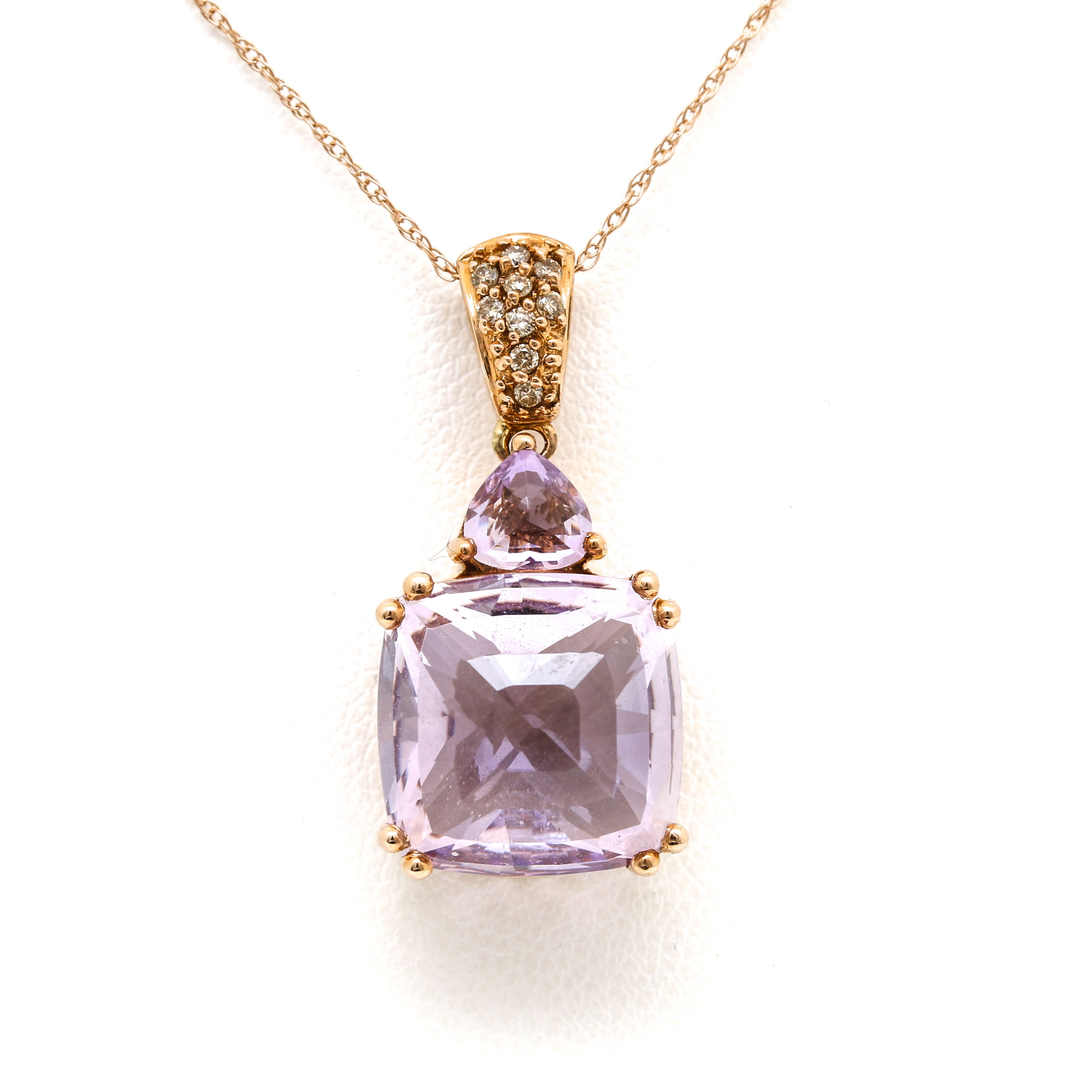 14K Rose Gold Amethyst and Diamond Pendant Necklace