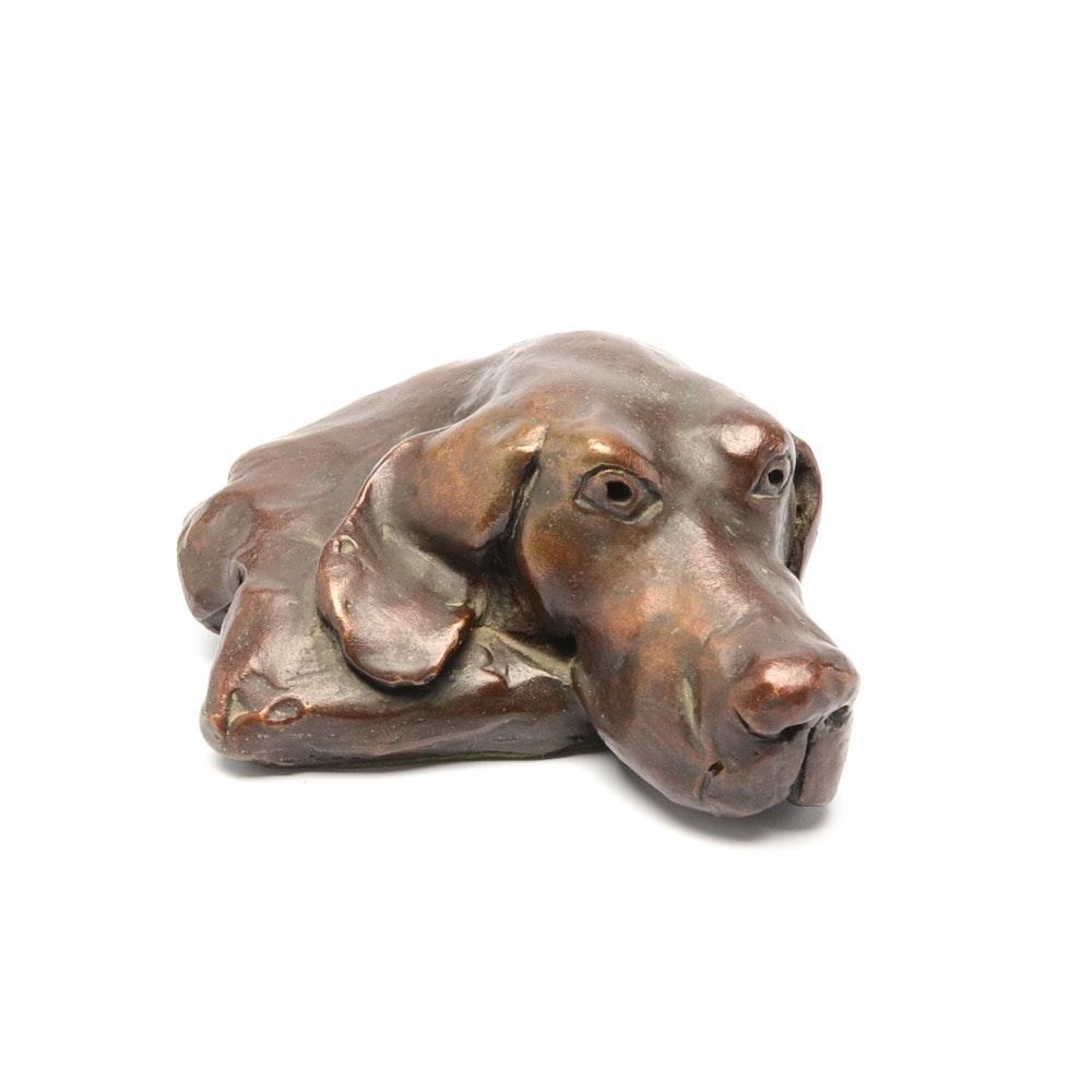 Cast Bronze Sculpture of a Dog's Head