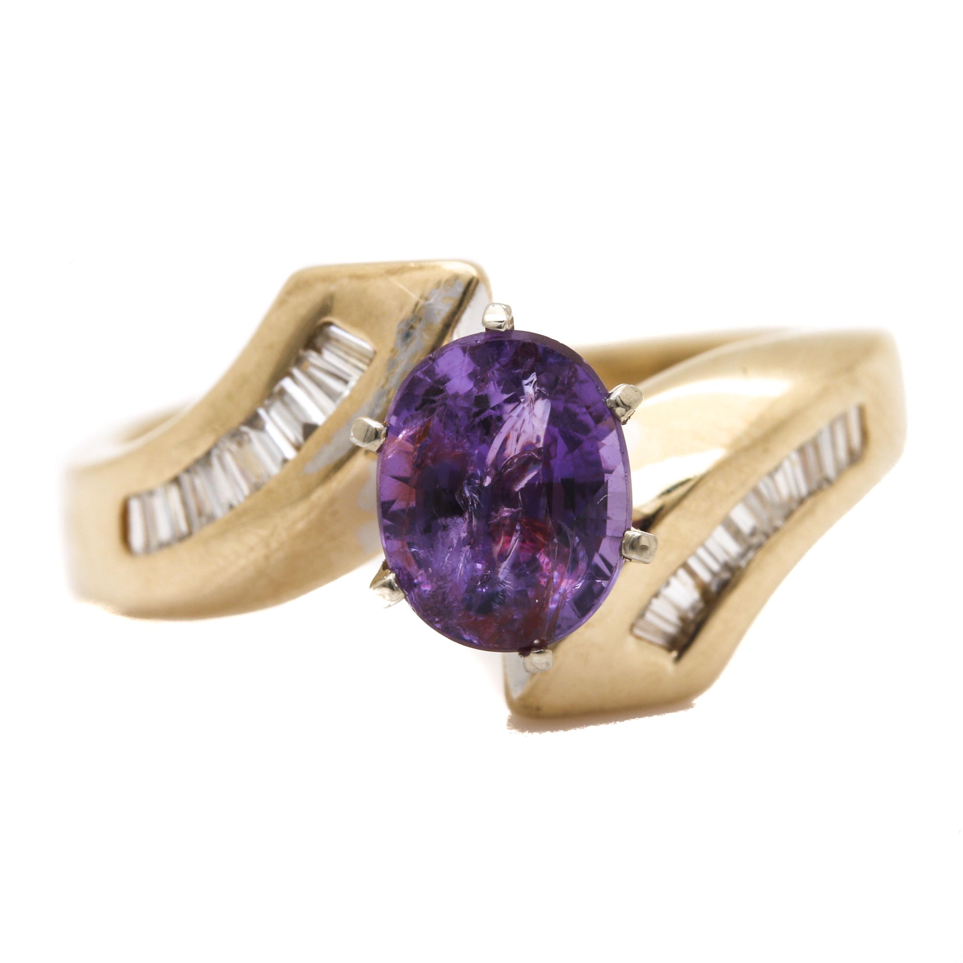 14K Yellow Gold 1.47 ct Purple Sapphire and Diamond Bypass Ring