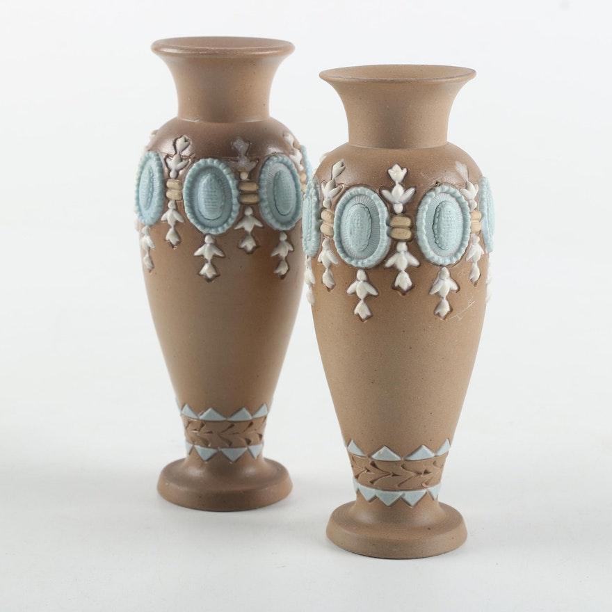Pair Of Antique 1876 Royal Doulton Silicon Lambeth Ware Vases Ebth