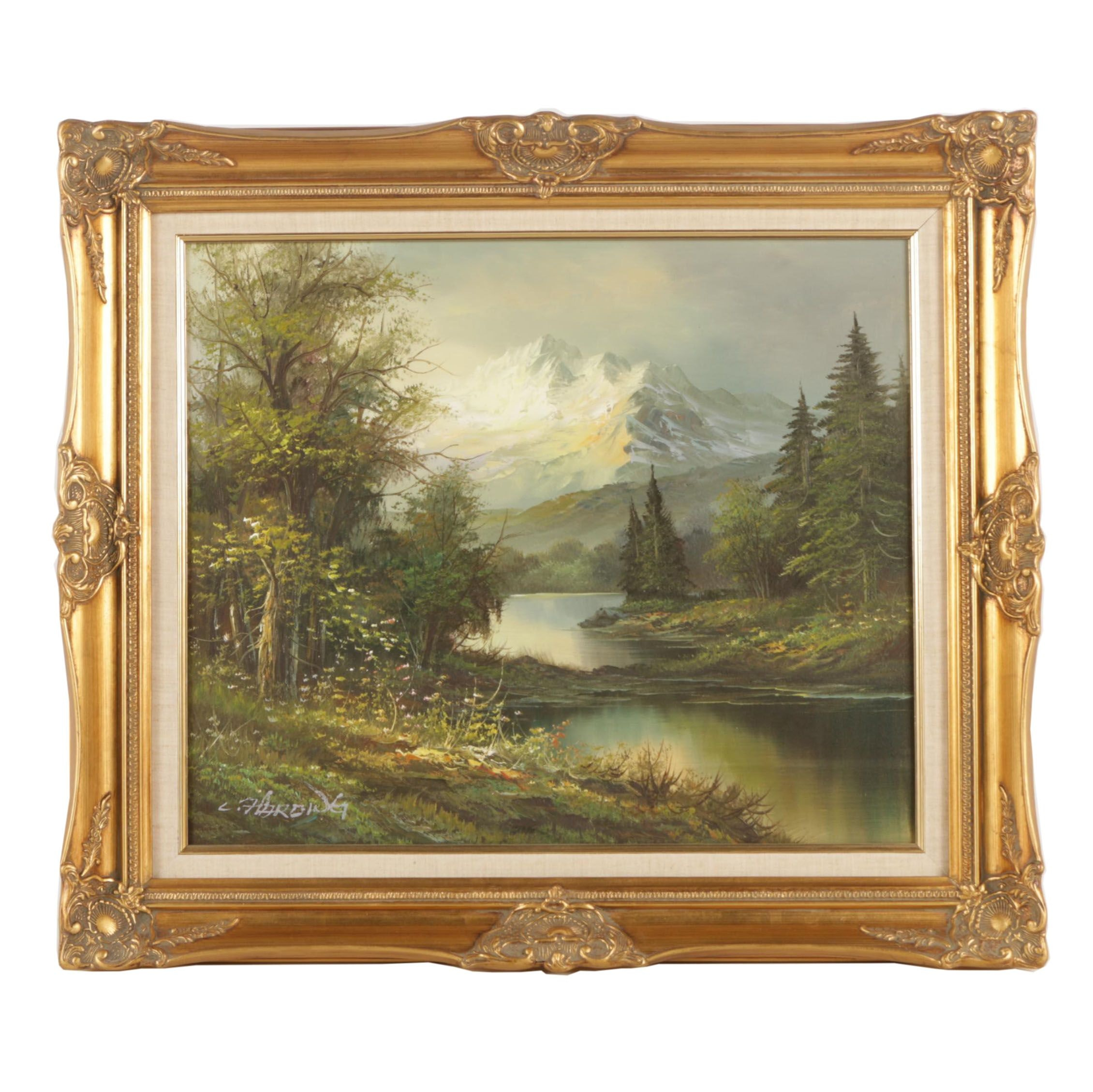 C. Harding Oil Painting on Canvas of River in Mountain Landscape