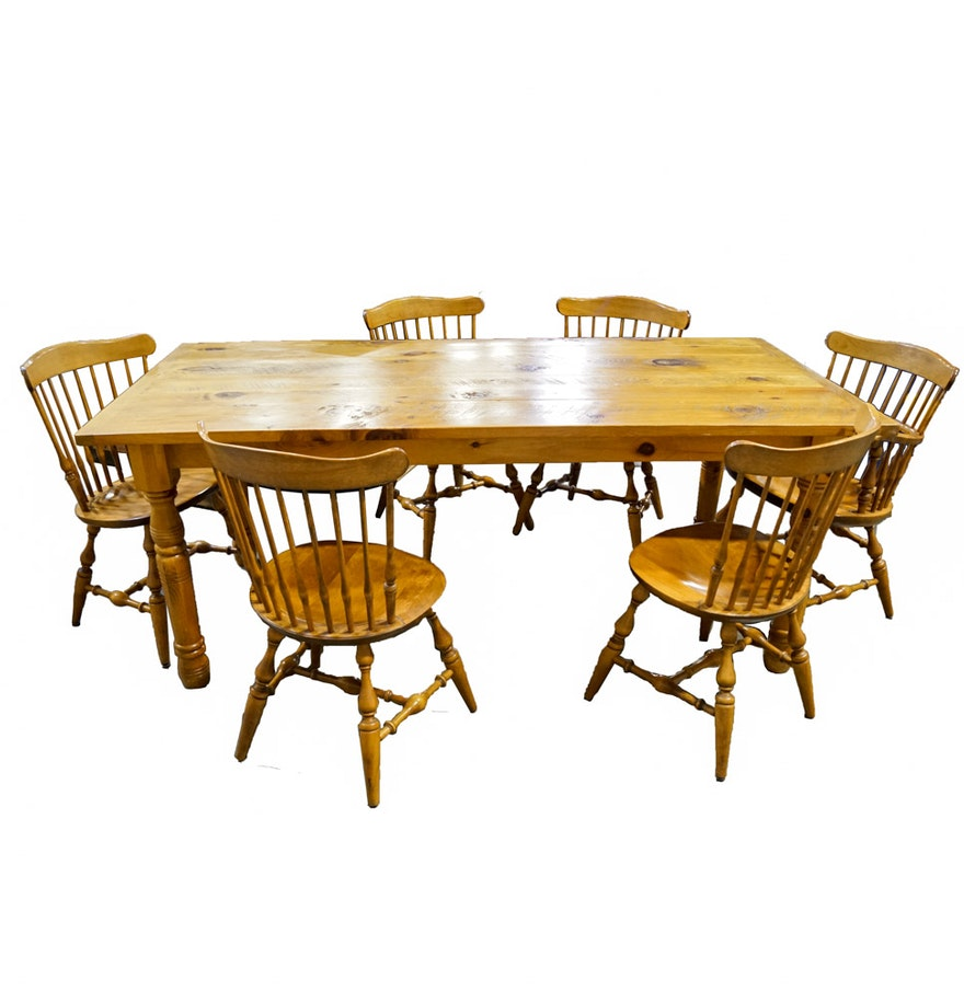 Farmhouse Style Pine Dining Table And Nichols Stone Co Windsor