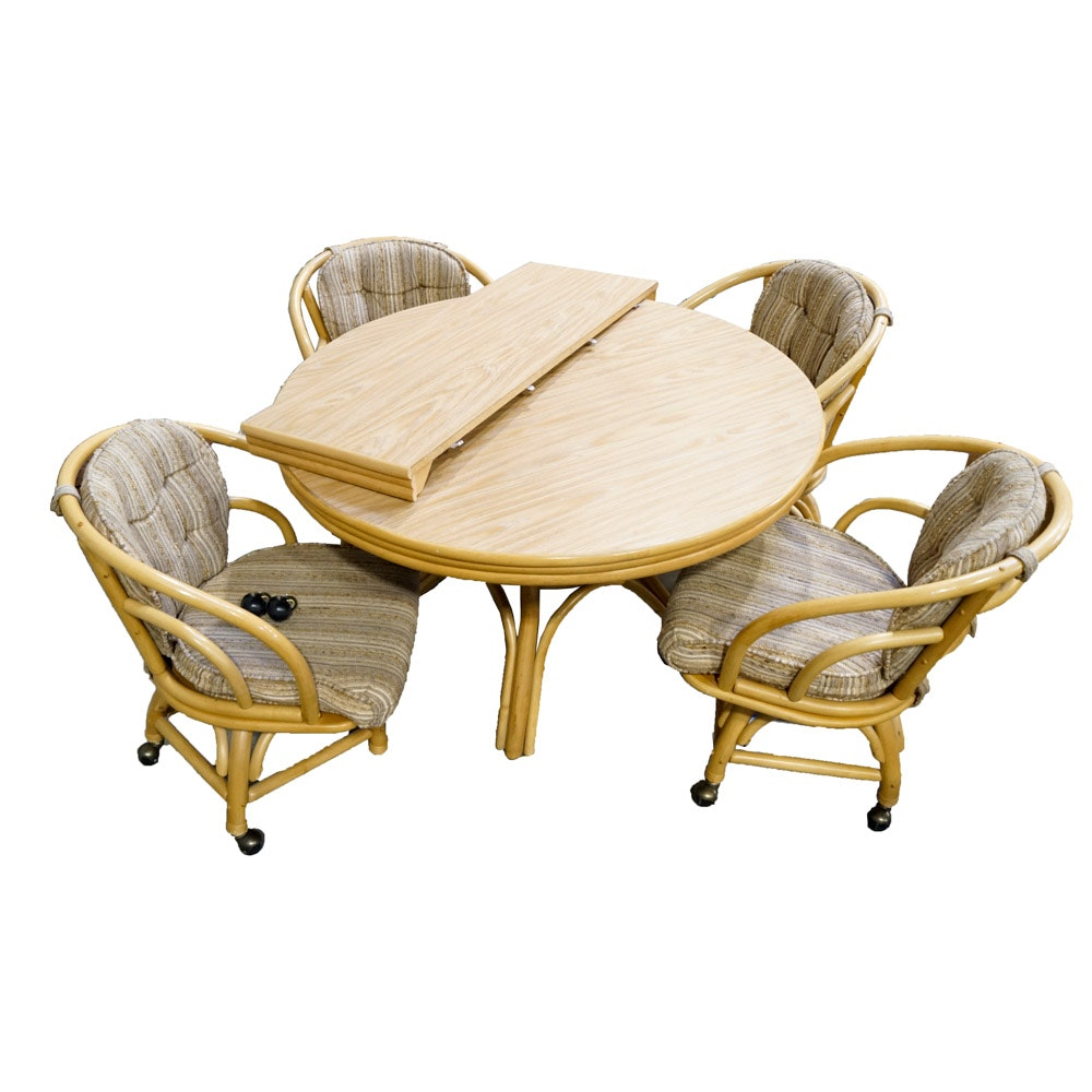 Round Rattan Dining Table with Chairs
