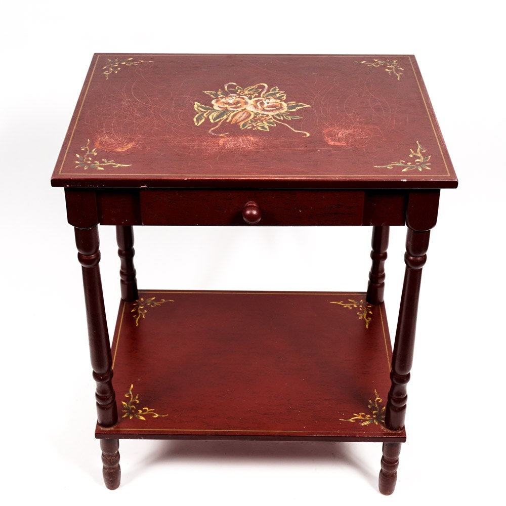 Red Painted Accent Table With Floral Motifs ...