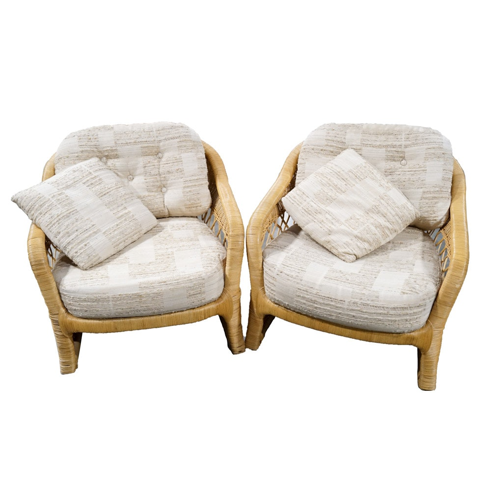 Ficks Reed Wicker Armchairs with Beige Cushions