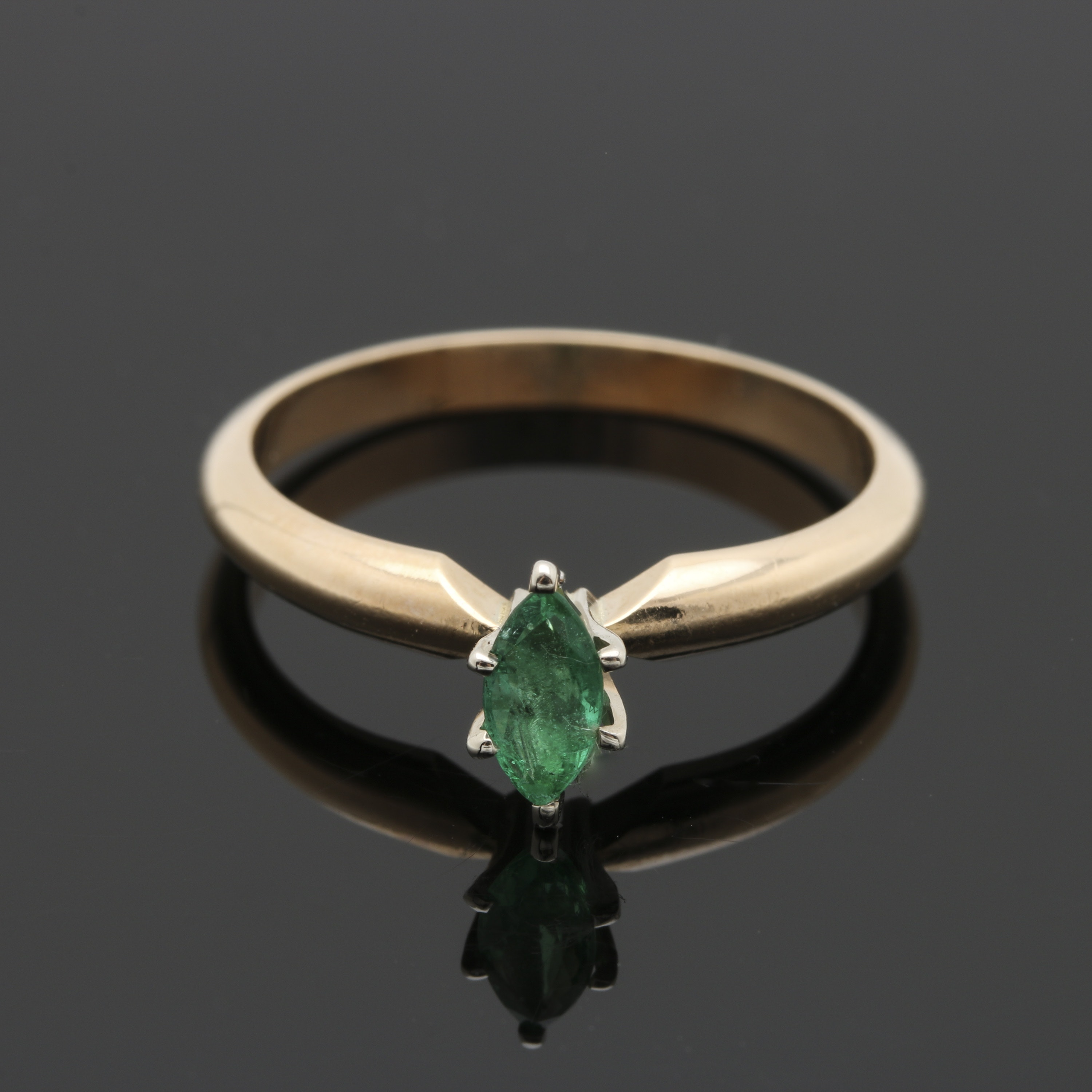 14K Two-Tone Gold Emerald Ring