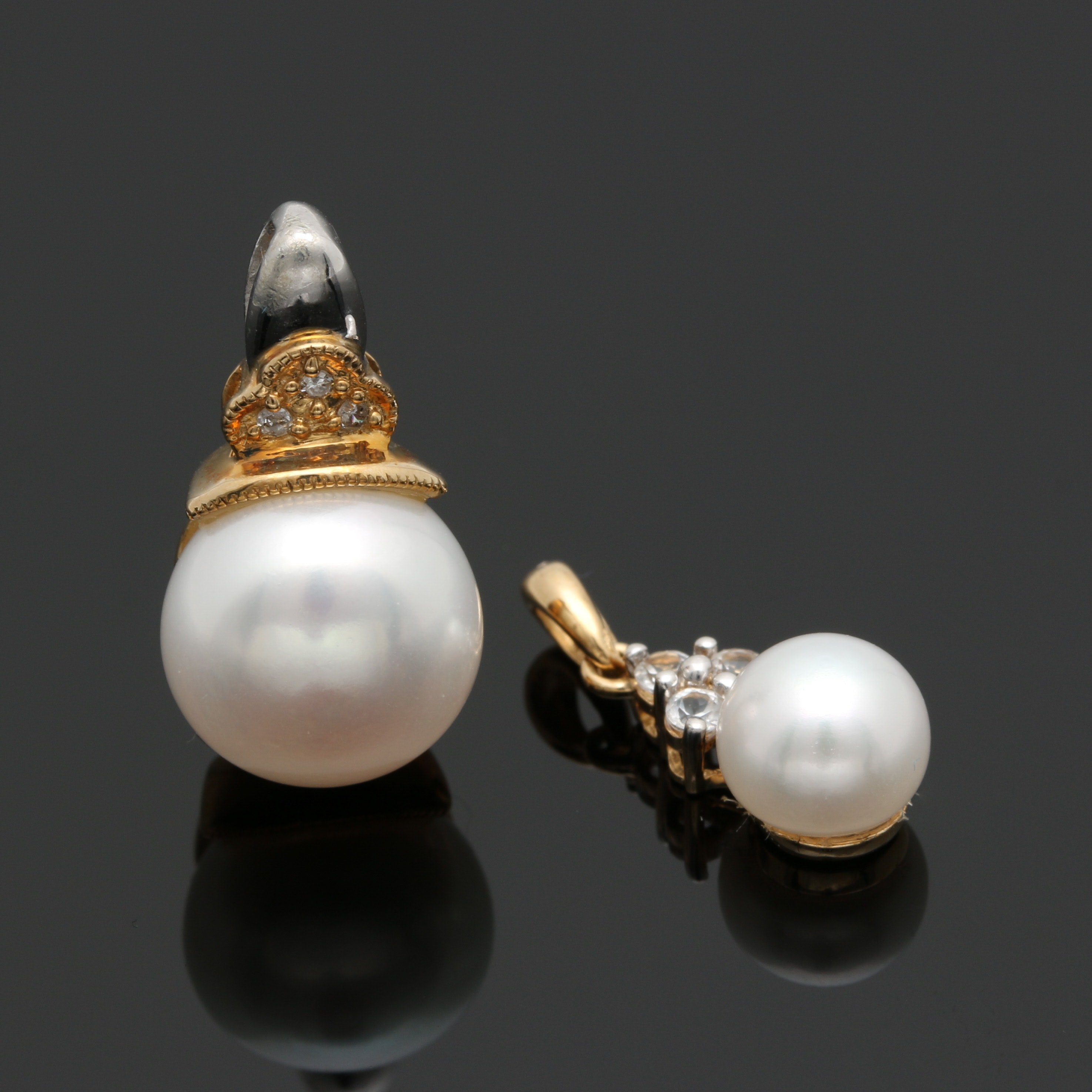 10K and 14K Yellow Gold Cultured Pearl, Diamond and White Topaz Pendants