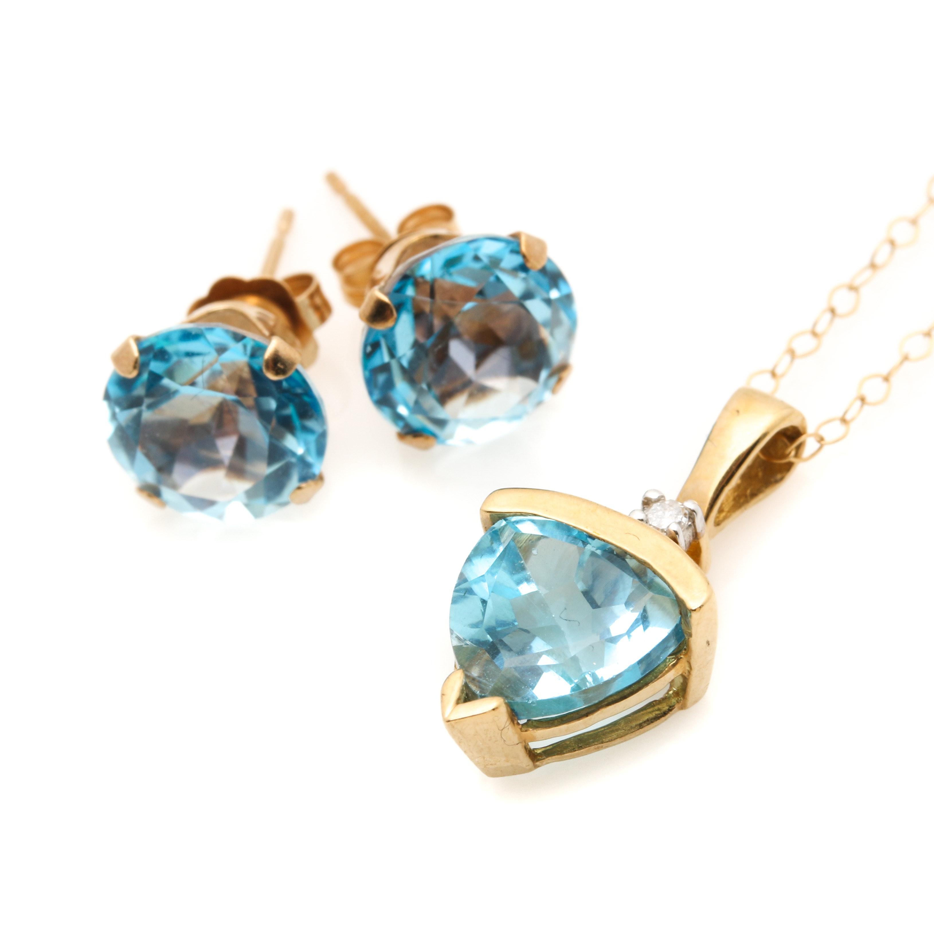 10K Yellow Gold Topaz and Diamond Jewelry Selection