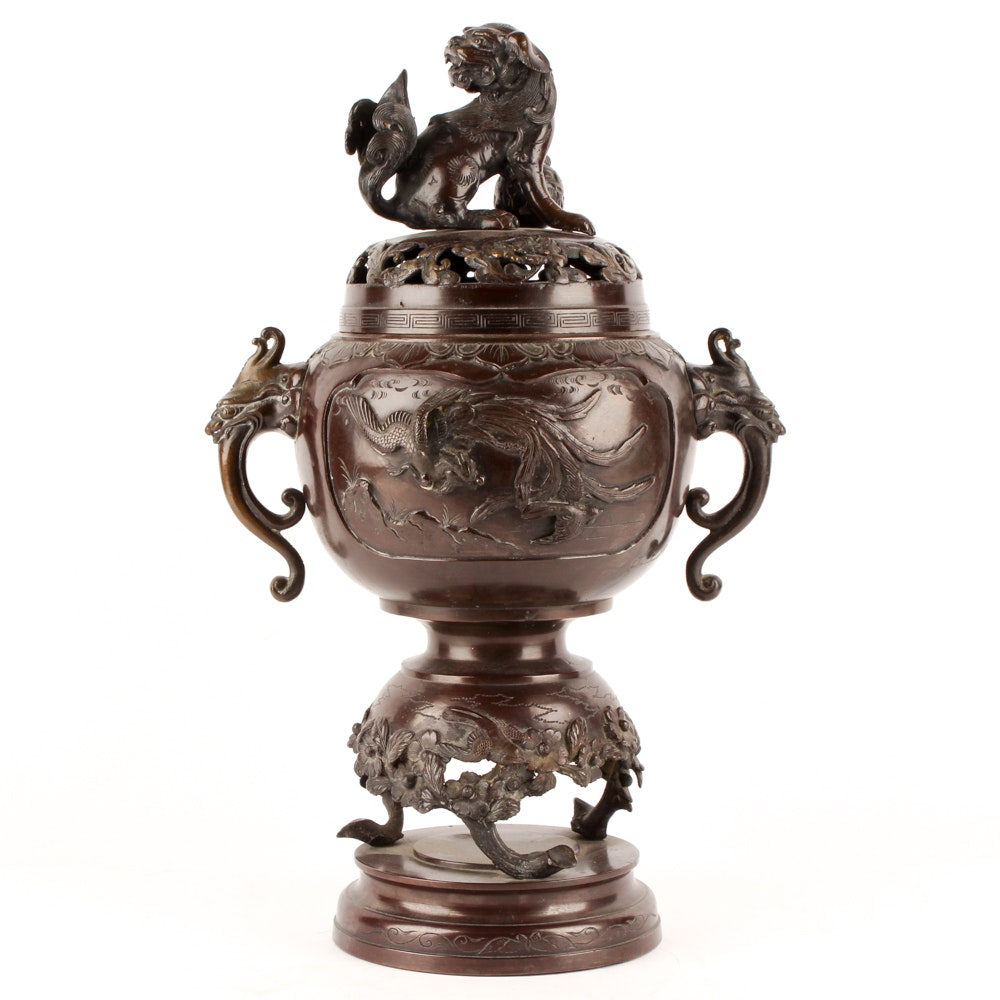 Guardian Lion Bronze Incense Burner