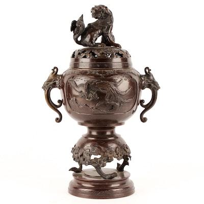 Guardian Lion Bronze Incense Burner