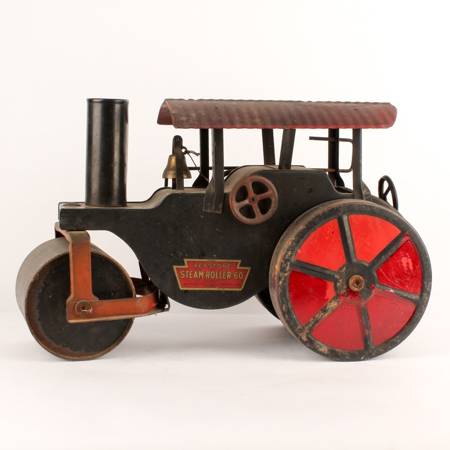 1920s Pressed Steel Ride On Toy Keystone Steamroller