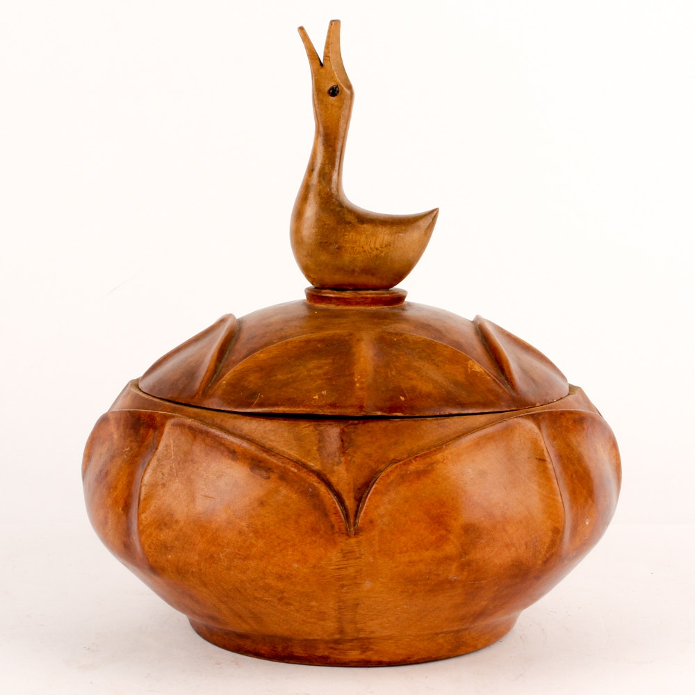 Hand-Carved Wooden Bowl with Goose Handle Lid