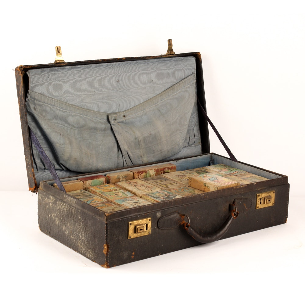 Vintage Briefcase with Paper Litho Alphabet Blocks