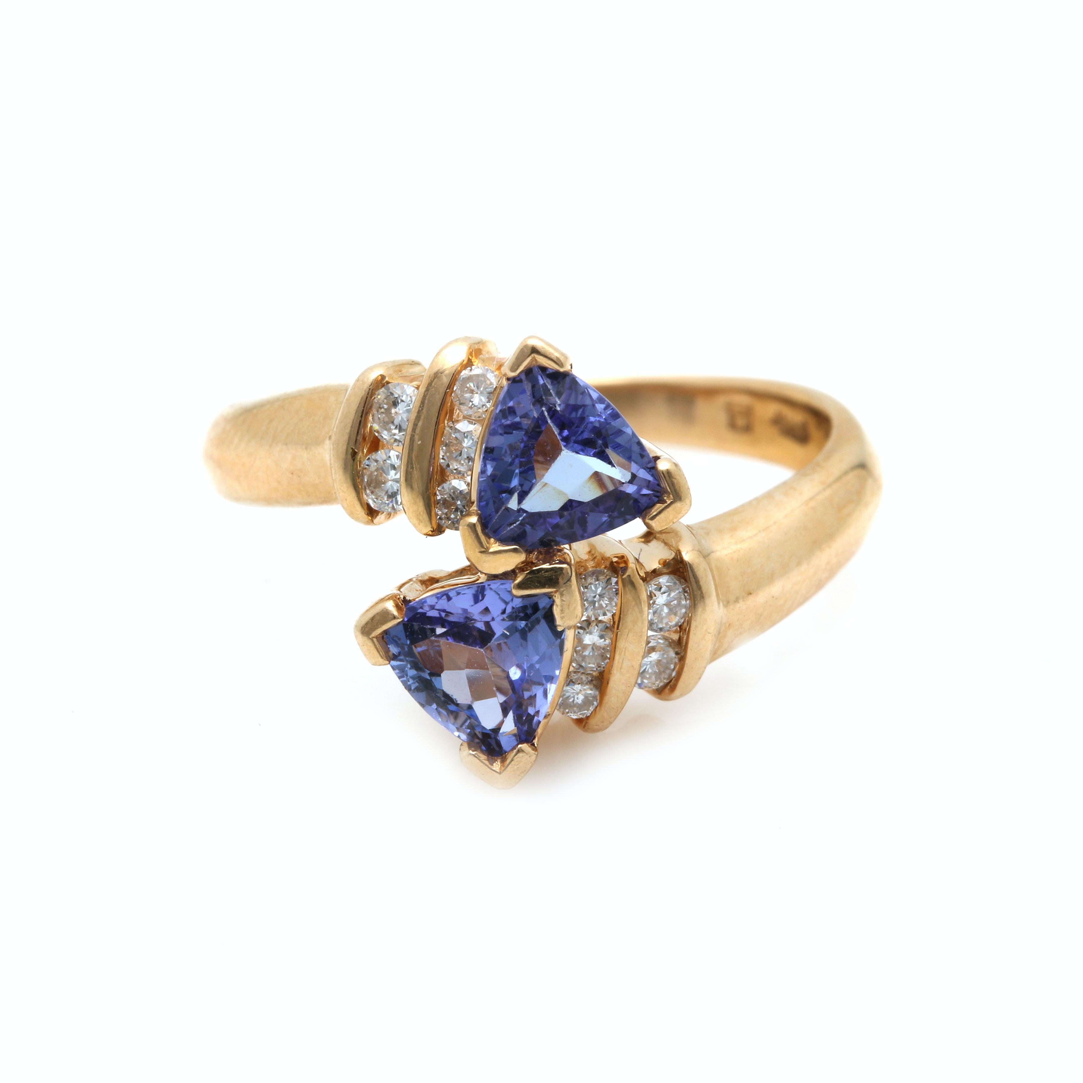 14K Yellow Gold Diamond and Tanzanite Bypass Ring