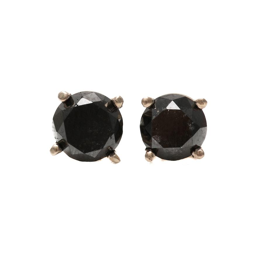 14k White Gold 2 0 Ctw Black Diamond Stud Earrings