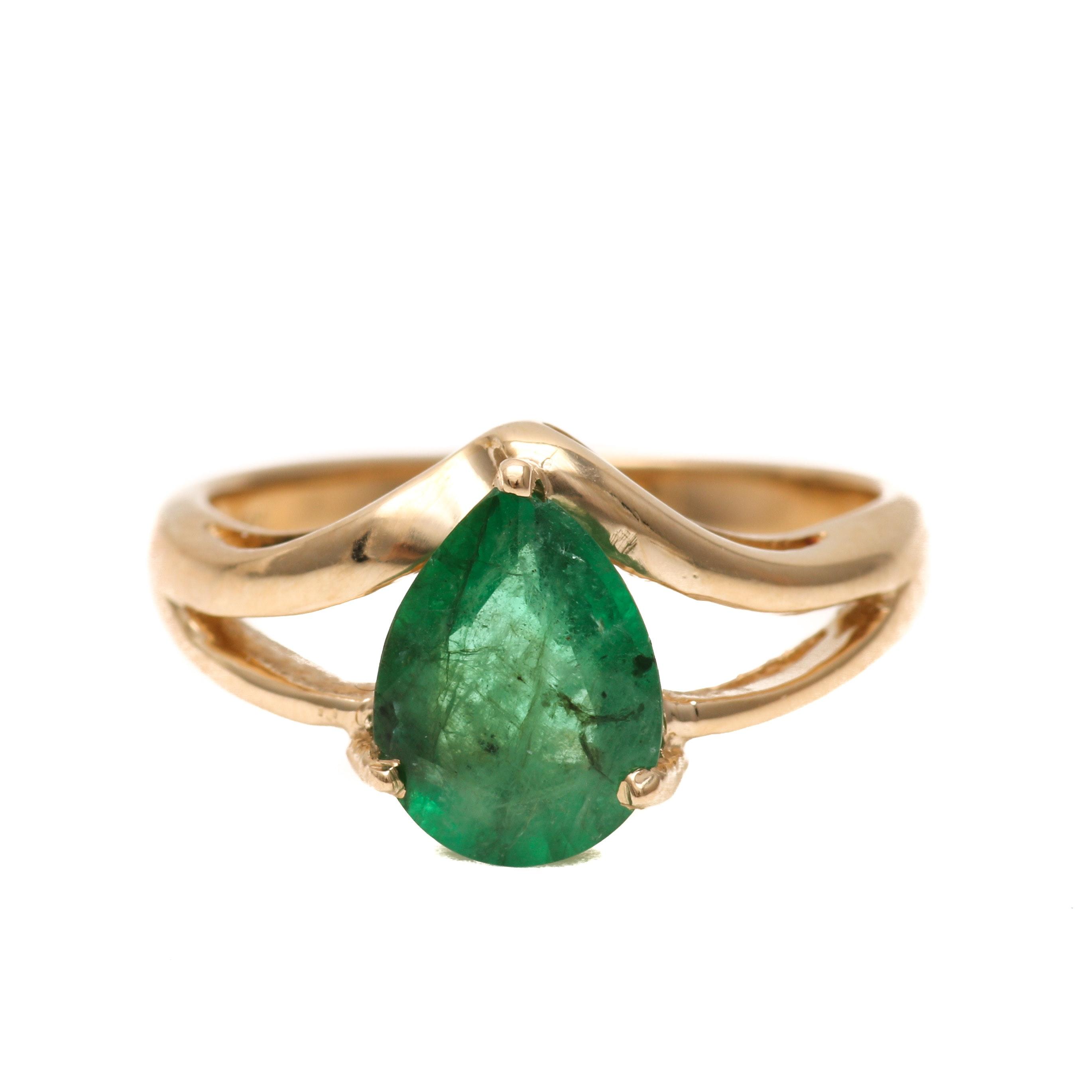 14K Yellow Gold 1.41 CT Emerald Ring