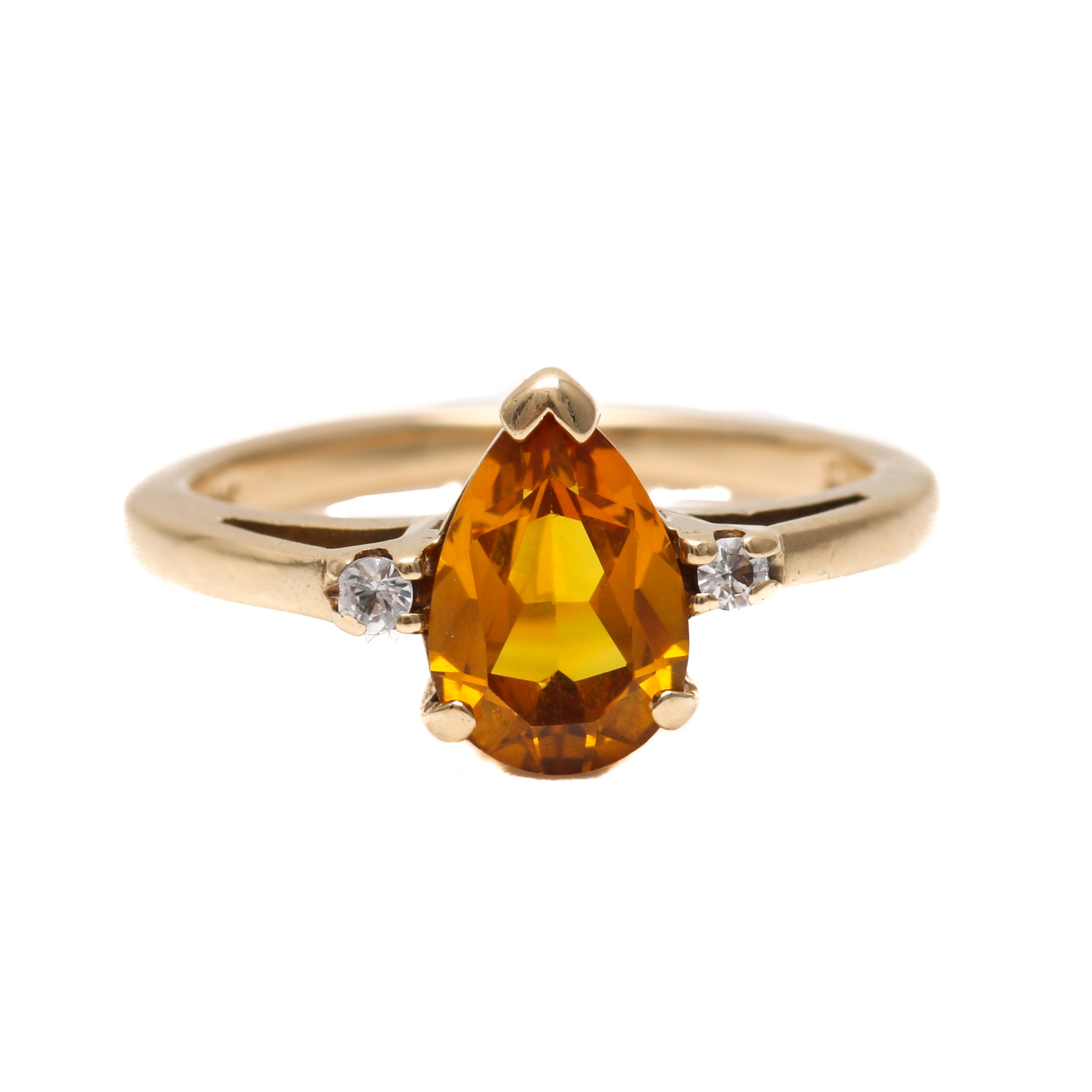 10K Yellow Gold White Spinel and Golden Sapphire Ring