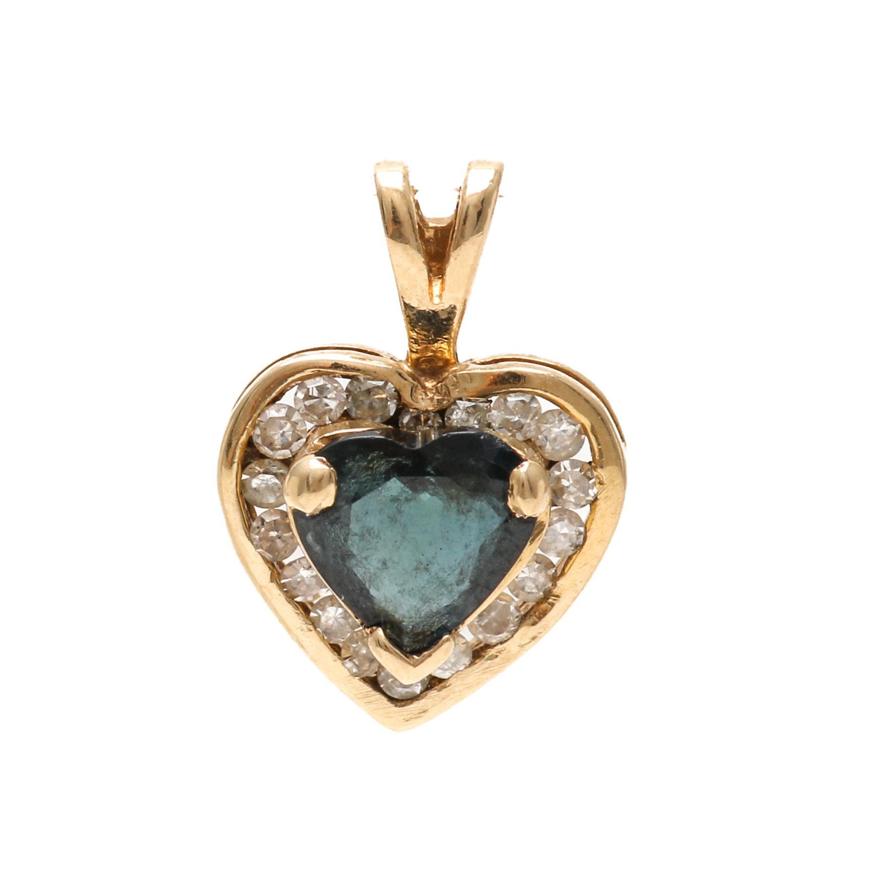 14K Yellow Gold Blue Sapphire and Diamond Heart Pendant