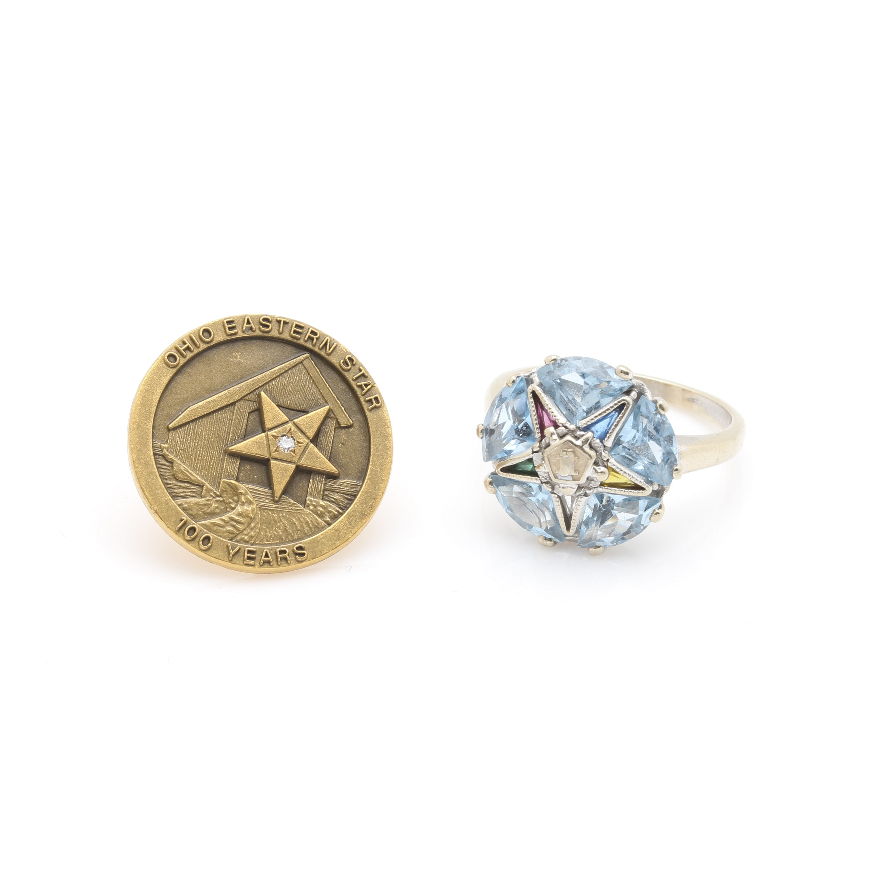 Order of The Eastern Star Masonic 10K White Gold Ring and Gold Tone Pin